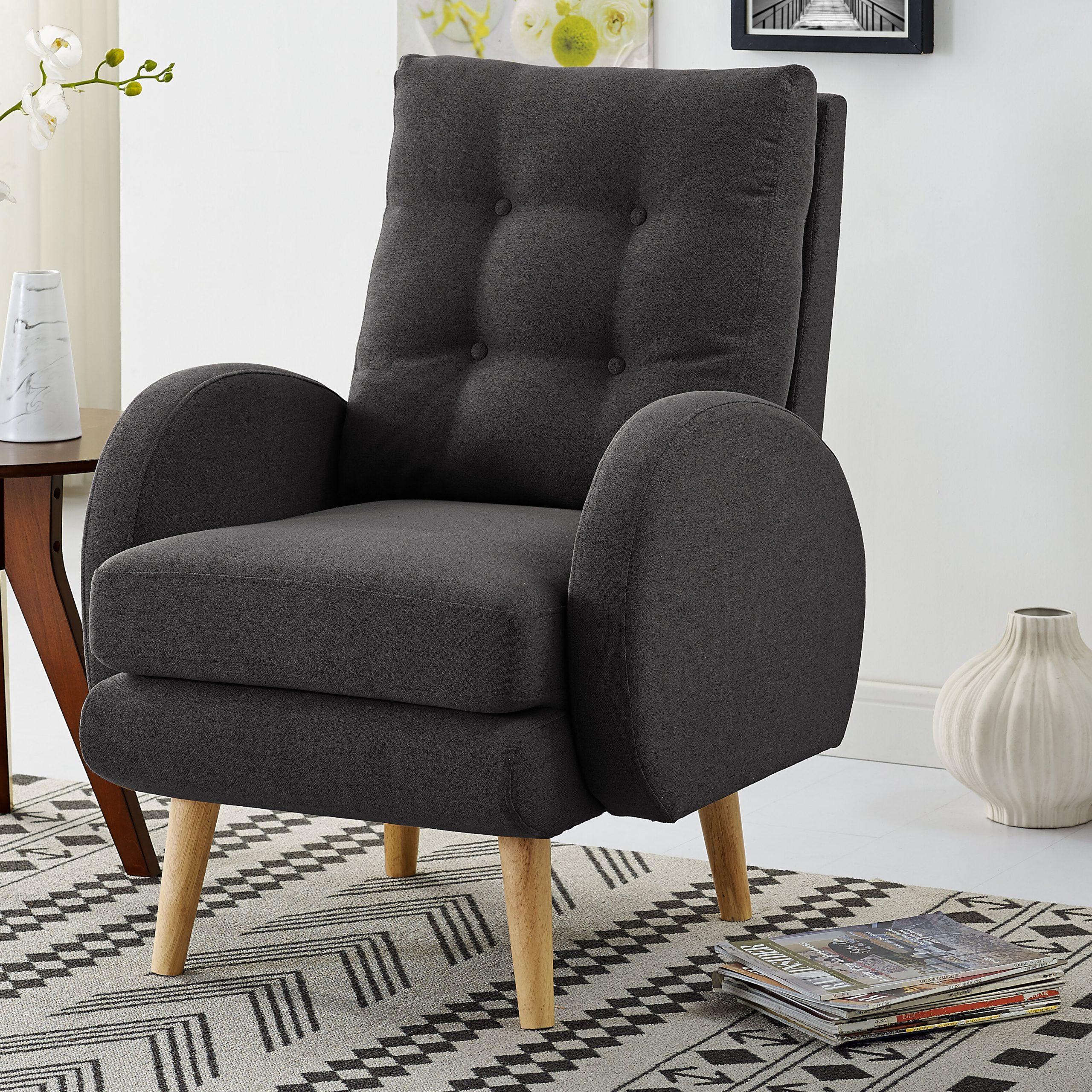 Hiltz Armchair With Regard To Claudel Polyester Blend Barrel Chairs (View 11 of 15)