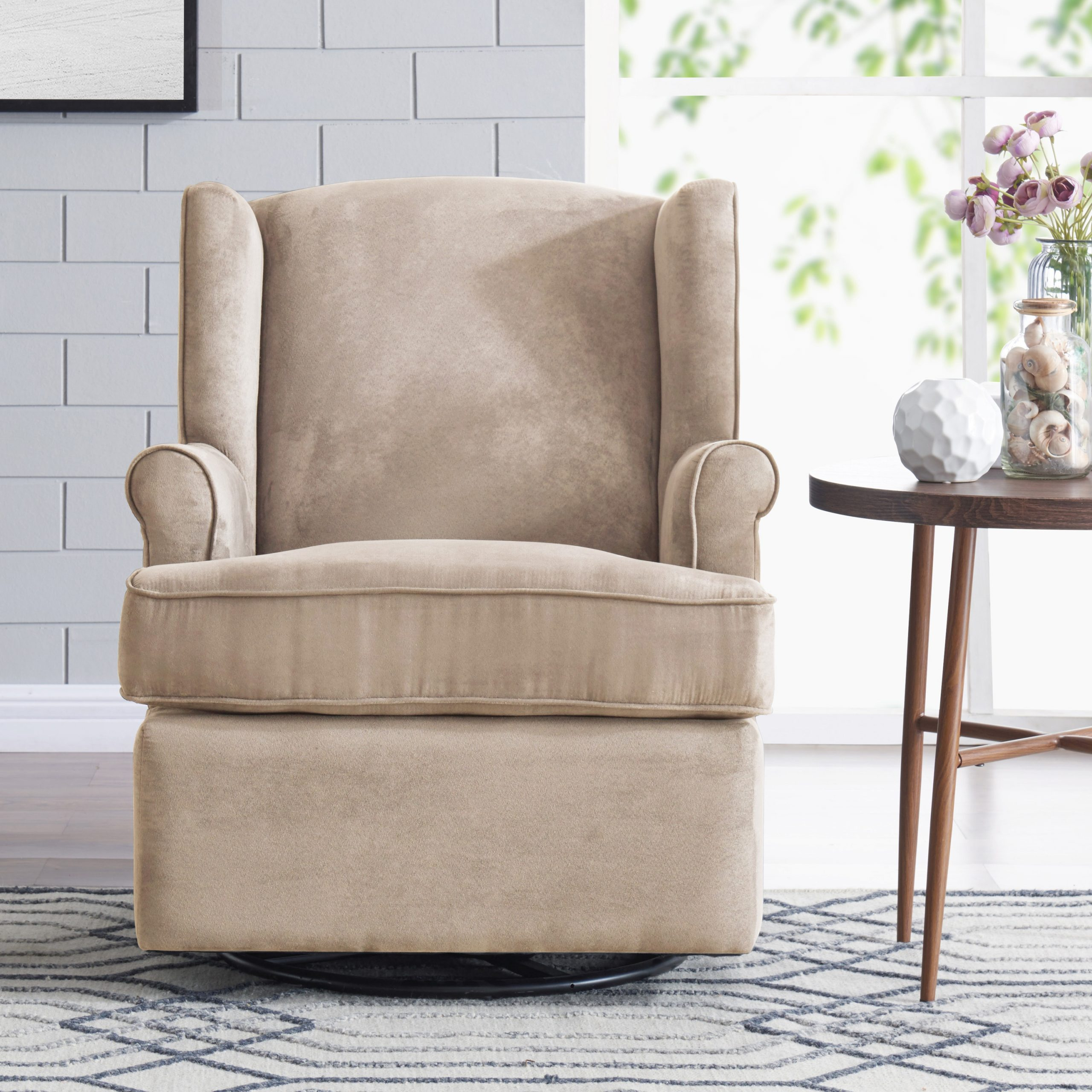 Home & Kitchen Handy Living Wingback Grey Microfiber Swivel For Hanner Polyester Armchairs (View 13 of 15)