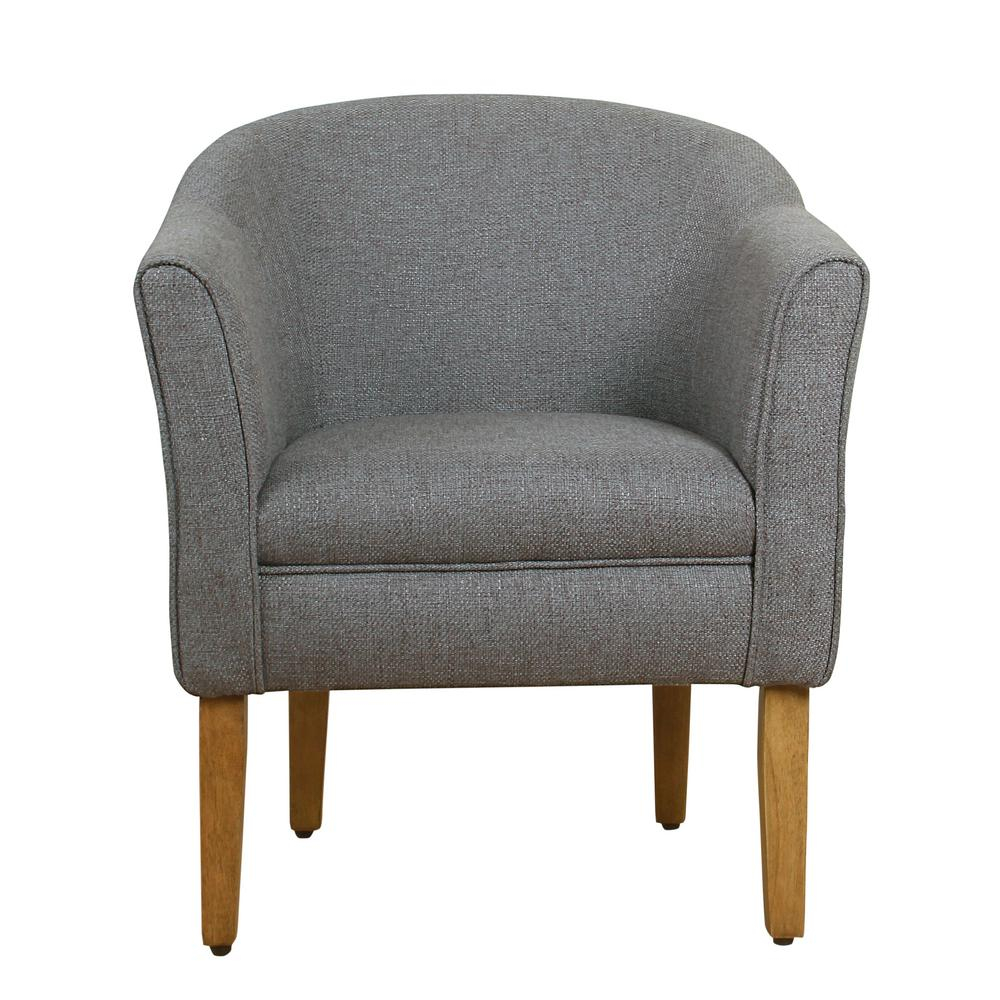 Homepop Chunky Barrel Shaped Charcoal Textured Accent Chair K6859 F2111 – The Home Depot Inside Danow Polyester Barrel Chairs (View 10 of 15)