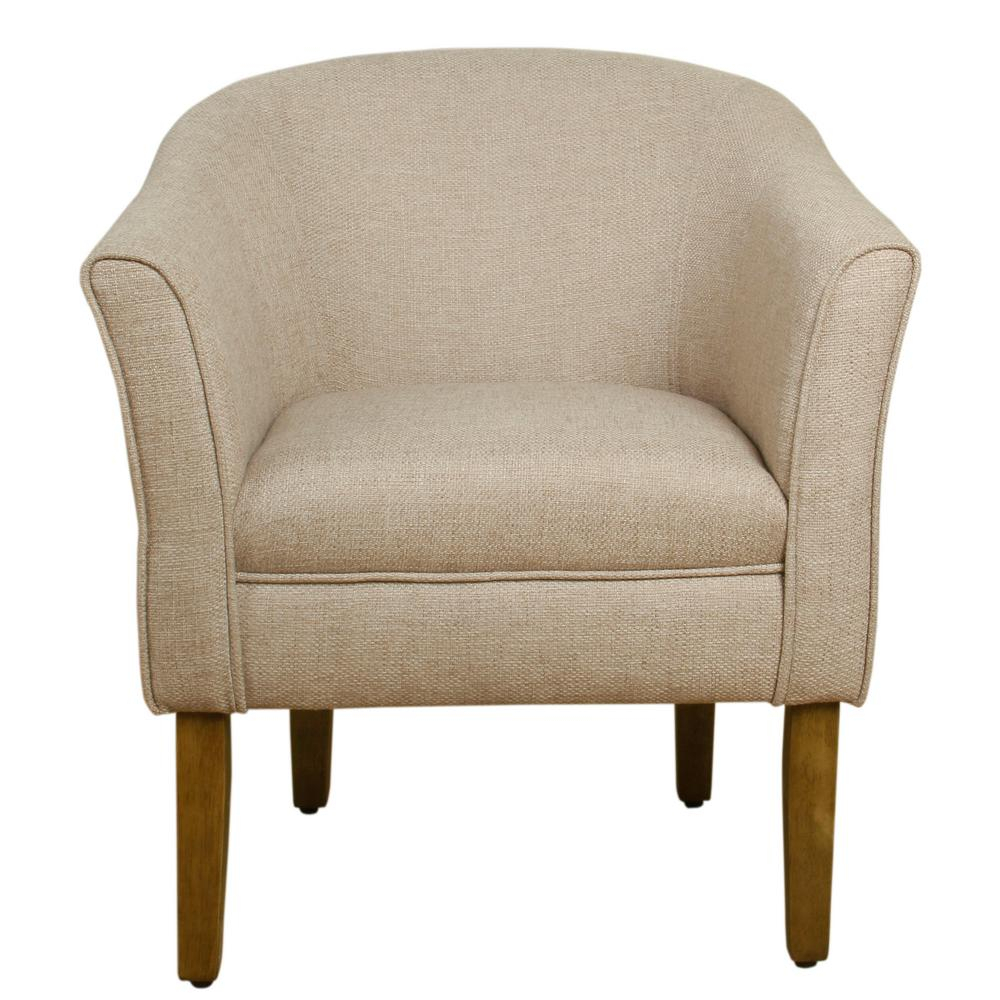 Homepop Chunky Barrel Shaped Flax Brown Textured Accent Chair K6859 F2011 – The Home Depot Throughout Danow Polyester Barrel Chairs (View 4 of 15)