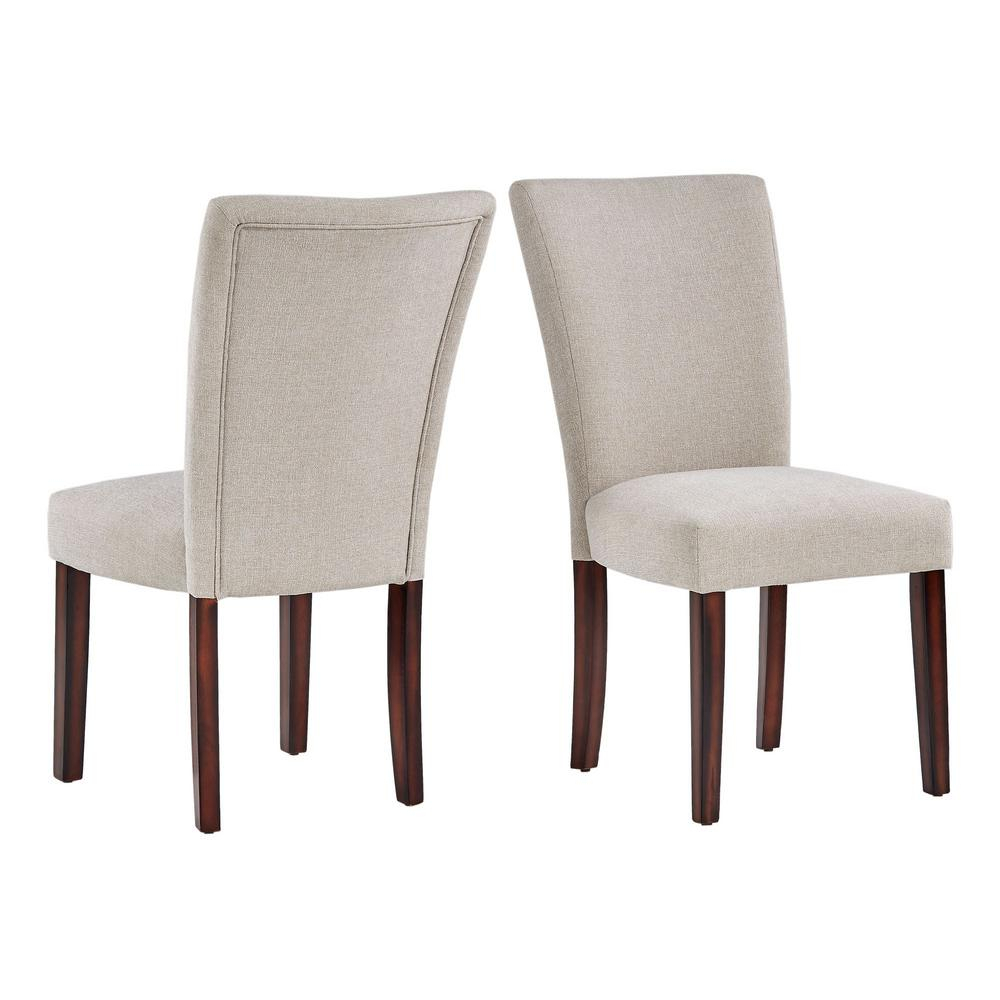 Homesullivan Espresso Beige Heathered Weave Parson Chair (Set Of 2) 40721S Bew[2Pc] – The Home Depot Intended For Aime Upholstered Parsons Chairs In Beige (View 2 of 15)