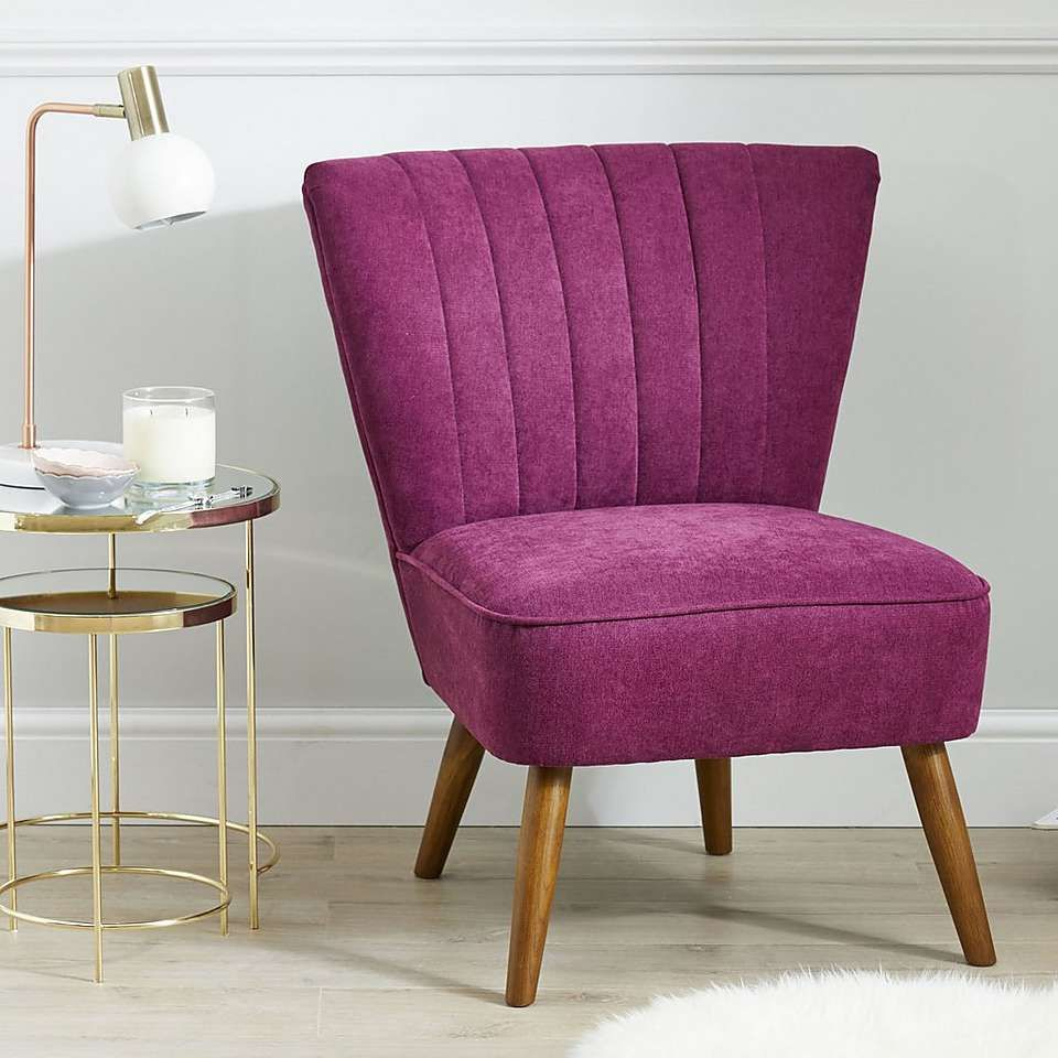 Imogen Chair – Aubergine | Dunelm | Upholstered Arm Chair Throughout Armory Fabric Armchairs (View 12 of 15)