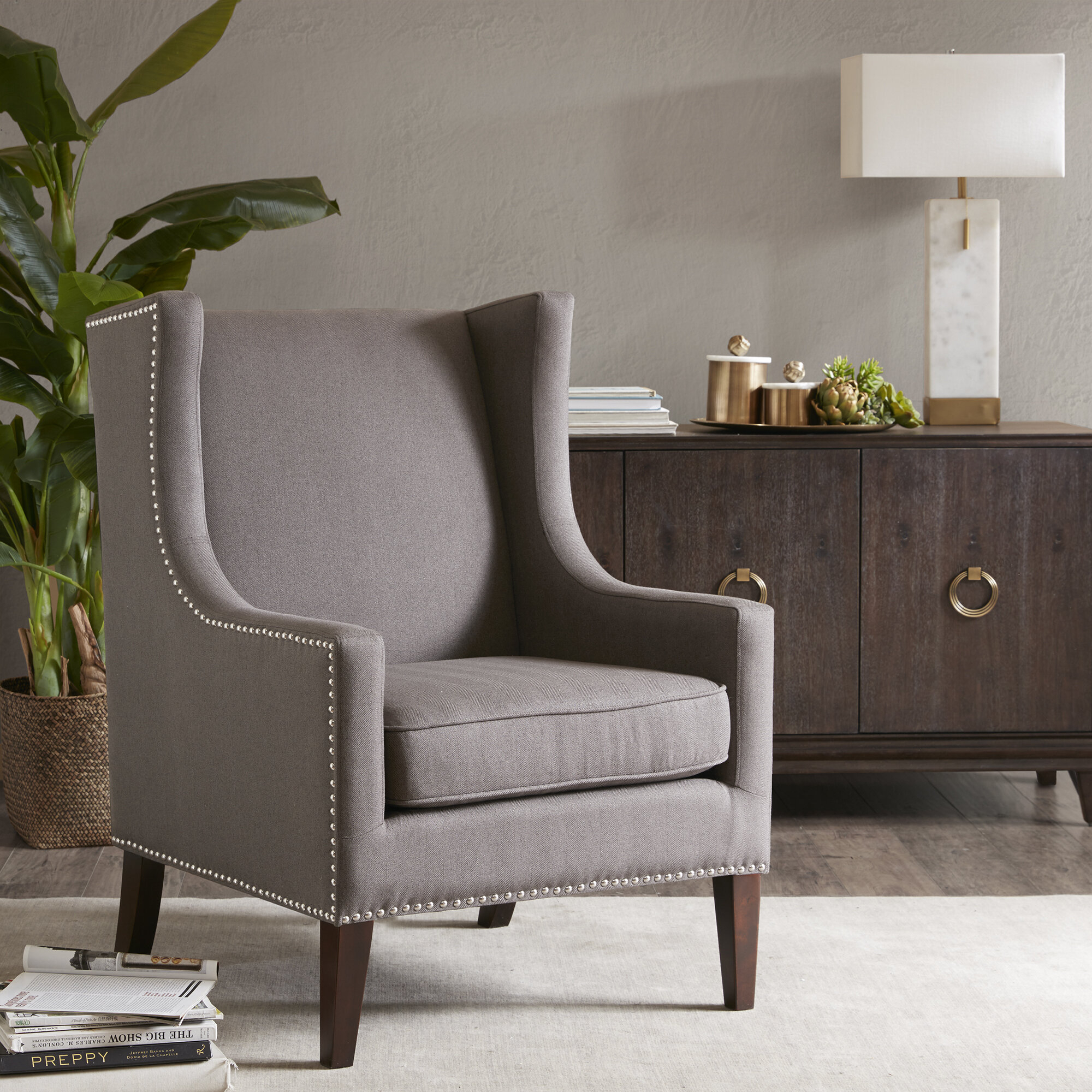 "Ivo 30"" W Tufted Wingback Chair Pertaining To Chagnon Wingback Chairs (View 4 of 15)"