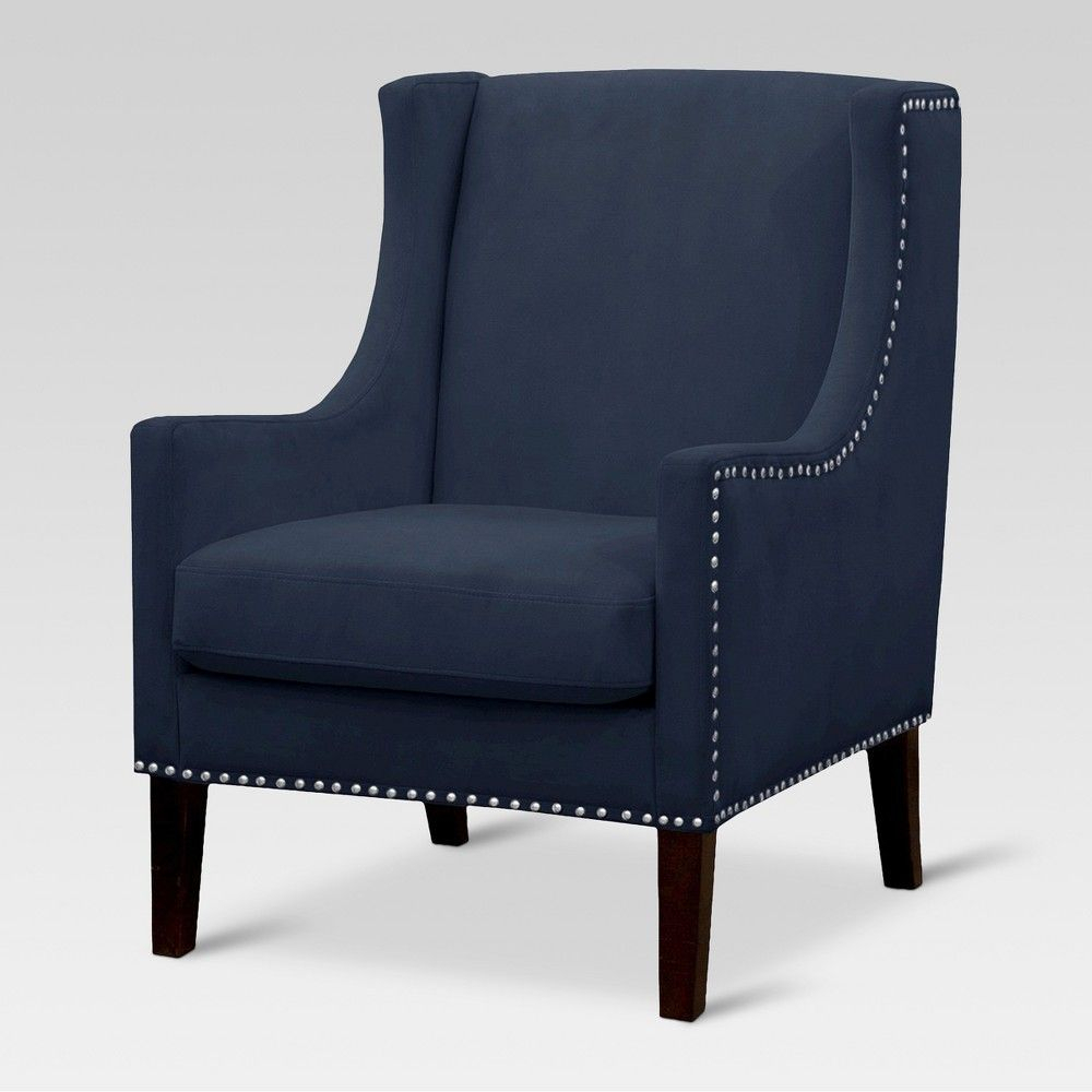 Jackson Wingback Chair – Velvet Navy – Threshold | Wingback Within Busti Wingback Chairs (View 7 of 15)