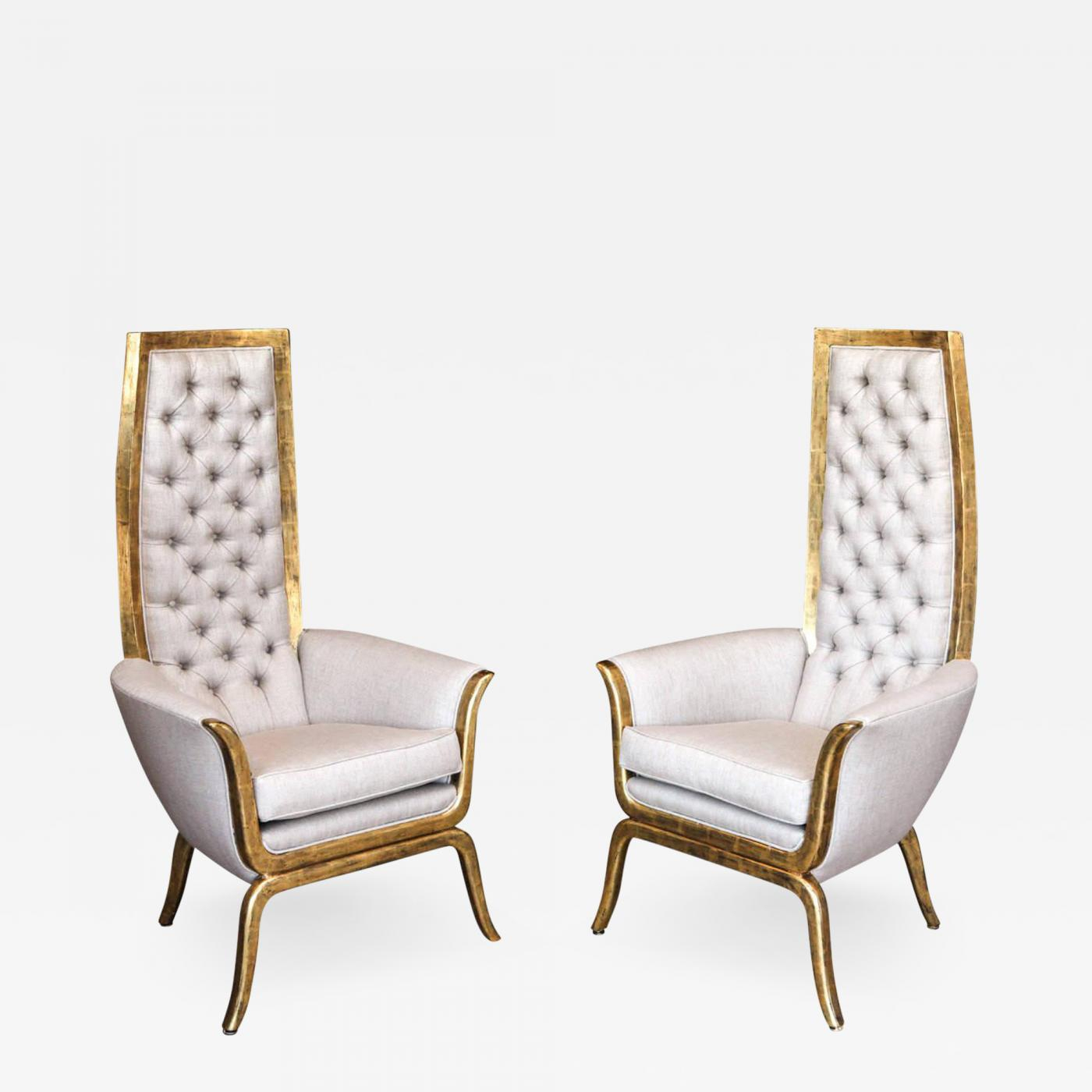 James Mont – Pair Of James Mont Style High Back Armchairs With 22 Karat Gold Finish With Regard To James Armchairs (View 14 of 15)
