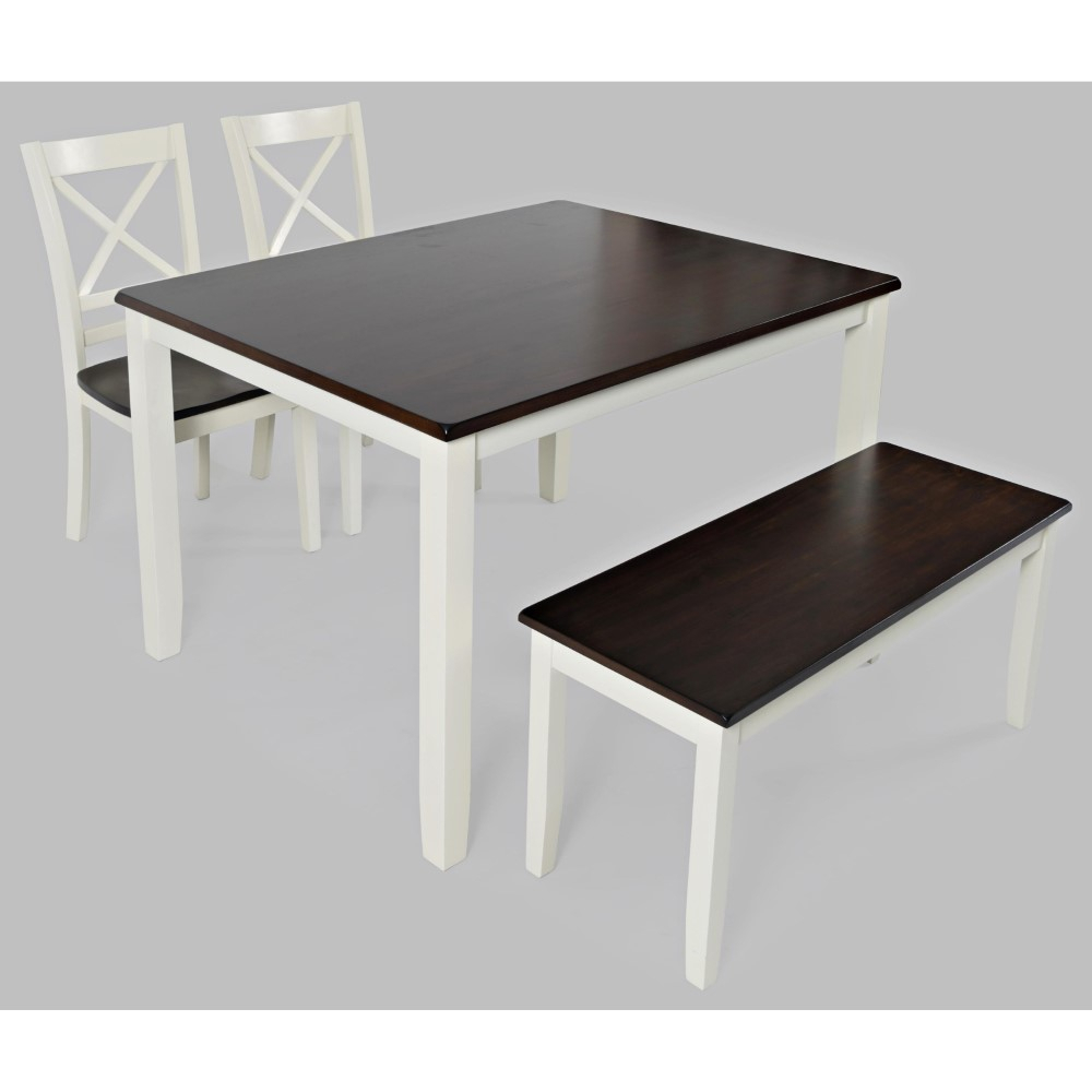 Jofran – Asbury Park 4 In Pack In Table With 2 Chairs And Bench In White /Autumn – 1805 Intended For Asbury Club Chairs (View 15 of 15)