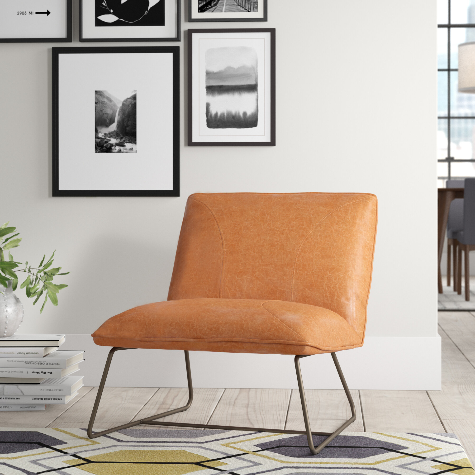 """Karina 28"""" Slipper Chair Intended For Broadus Genuine Leather Suede Side Chairs (View 14 of 15)"""