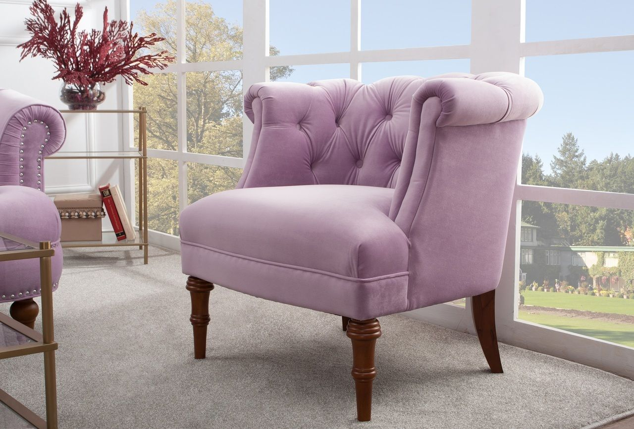 Katherine Tufted Accent Chair, Lavender | Tufted Accent Regarding Maubara Tufted Wingback Chairs (View 7 of 15)