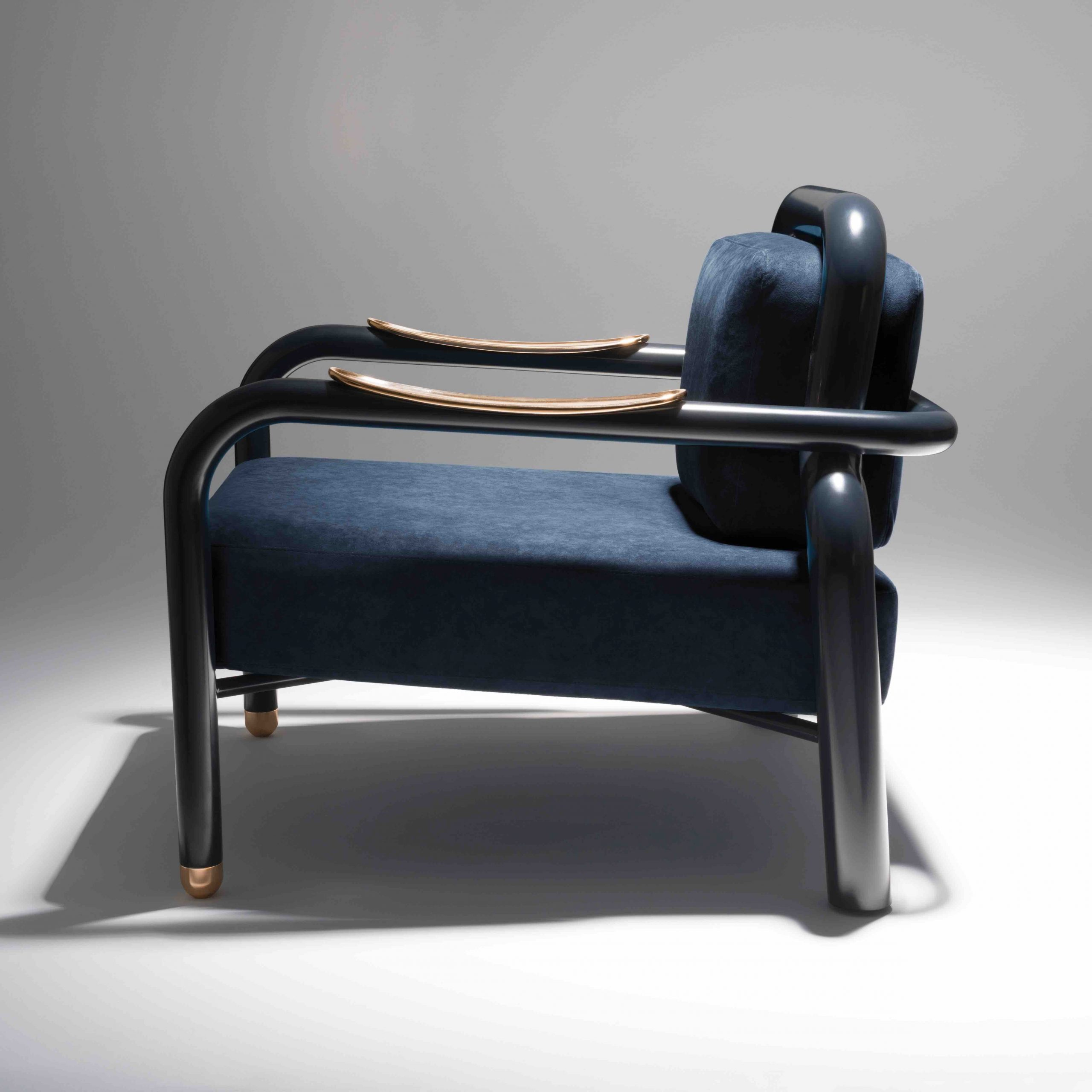 Kayak / Lacquered Steel, Polished Bronze And Alcantara With Regard To Harmoni Armchairs (View 6 of 15)