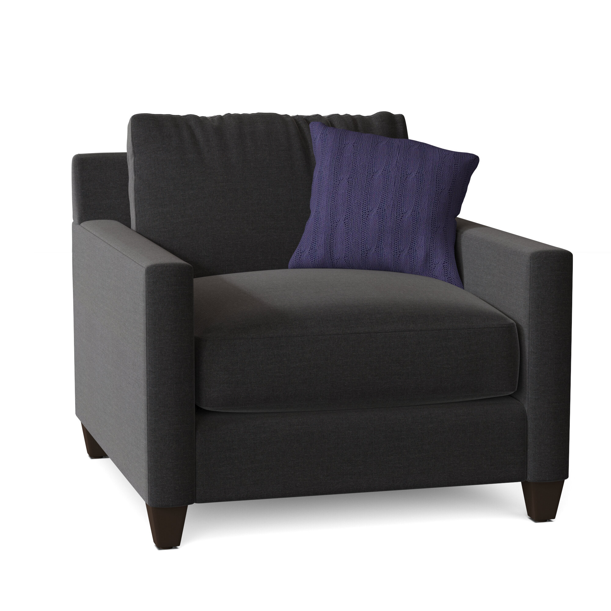 "Kerry 38"" W Polyester Blend Down Cushion Armchair Inside Polyester Blend Armchairs (View 9 of 15)"