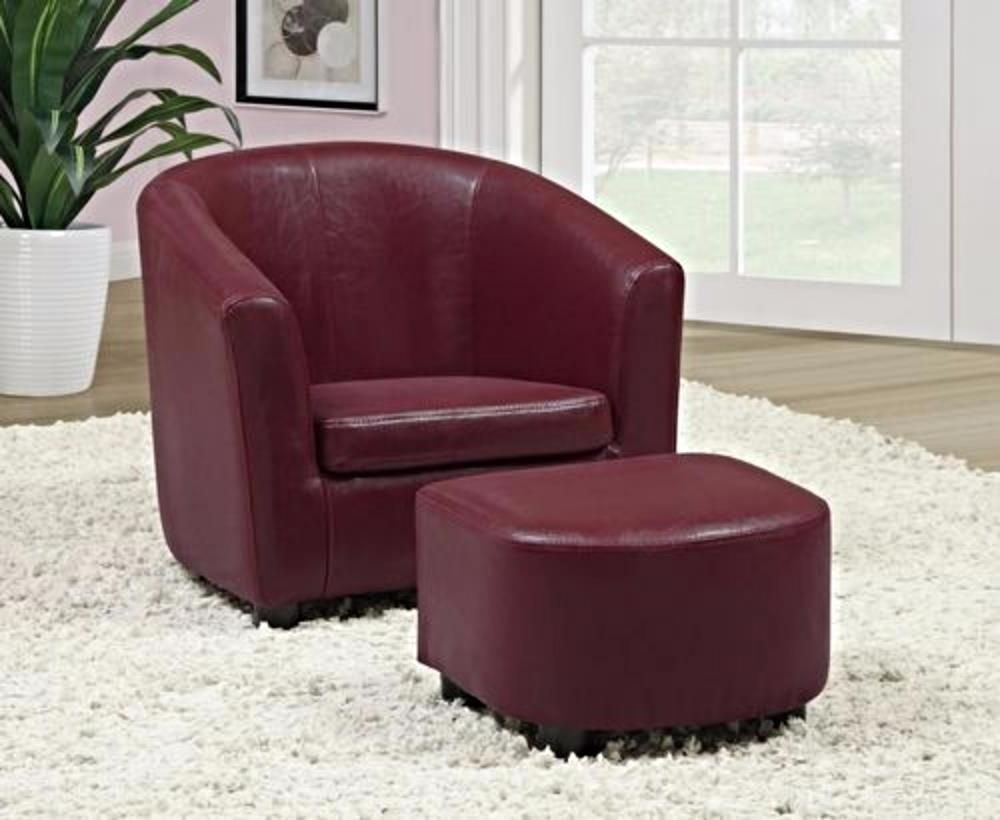 Kids Barrel Club Chair Ottoman Seat Set Leather Armchair In Faux Leather Barrel Chair And Ottoman Sets (View 7 of 15)