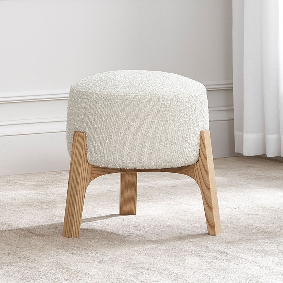 Kit Stool, Snow Bouclé | Castlery In 2020 | Emerald Green Inside Bucci Slipper Chairs (View 11 of 15)