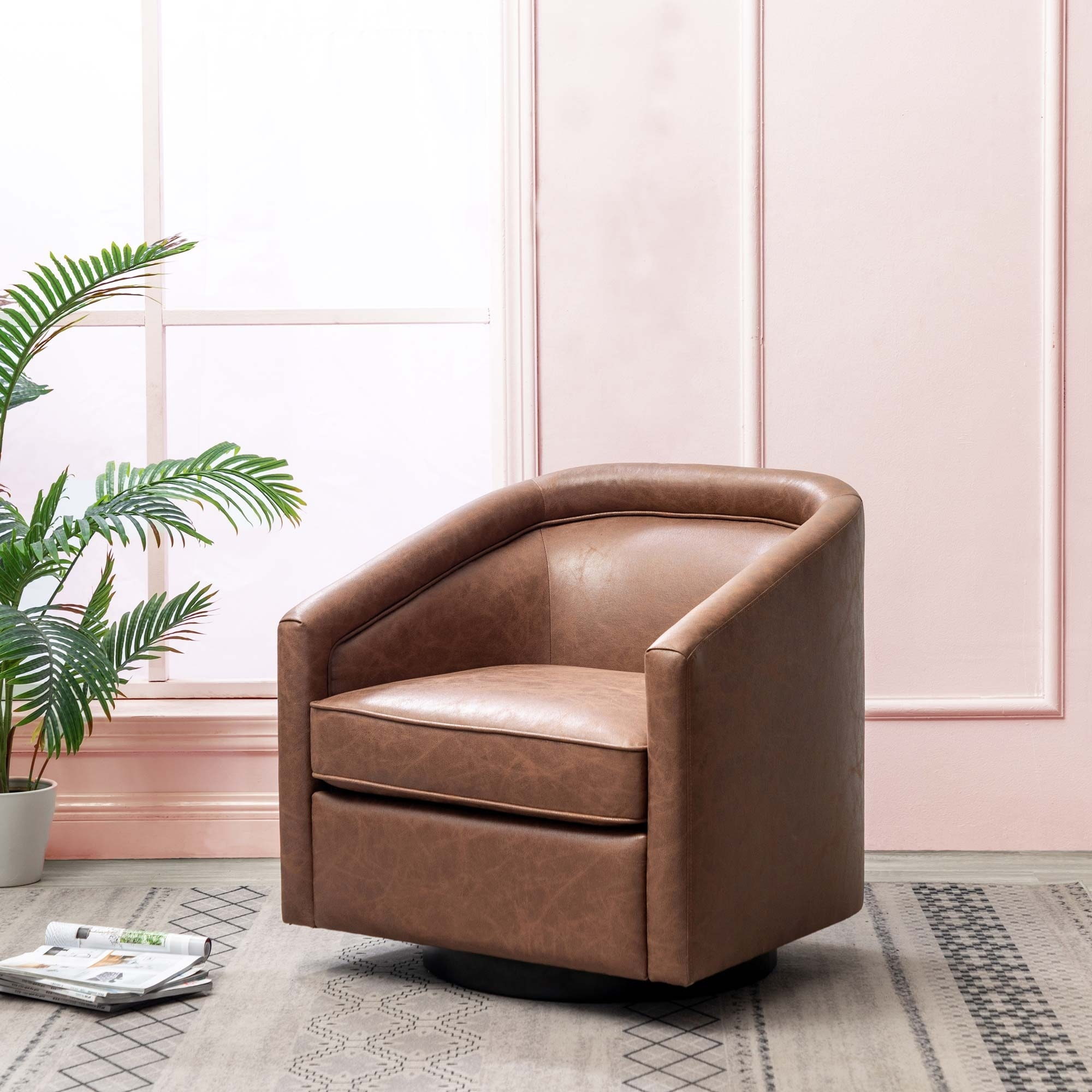 Kotter Home Faux Leather Swivel Barrel Chair Regarding Faux Leather Barrel Chairs (View 8 of 15)