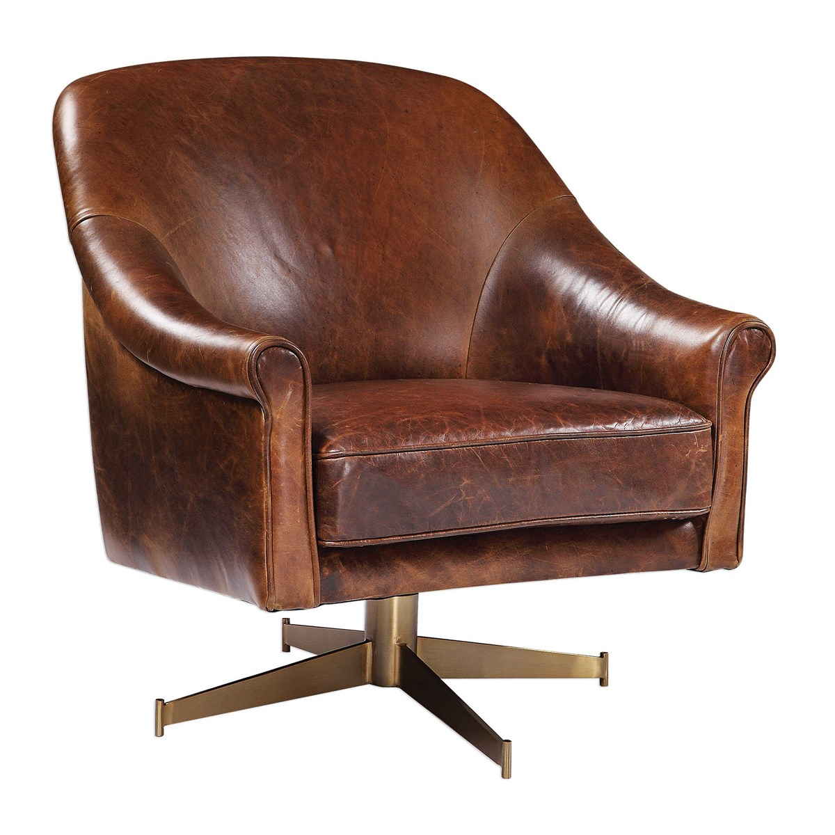 Langham Leather Swivel Club Chair With Regard To Montenegro Faux Leather Club Chairs (View 7 of 15)
