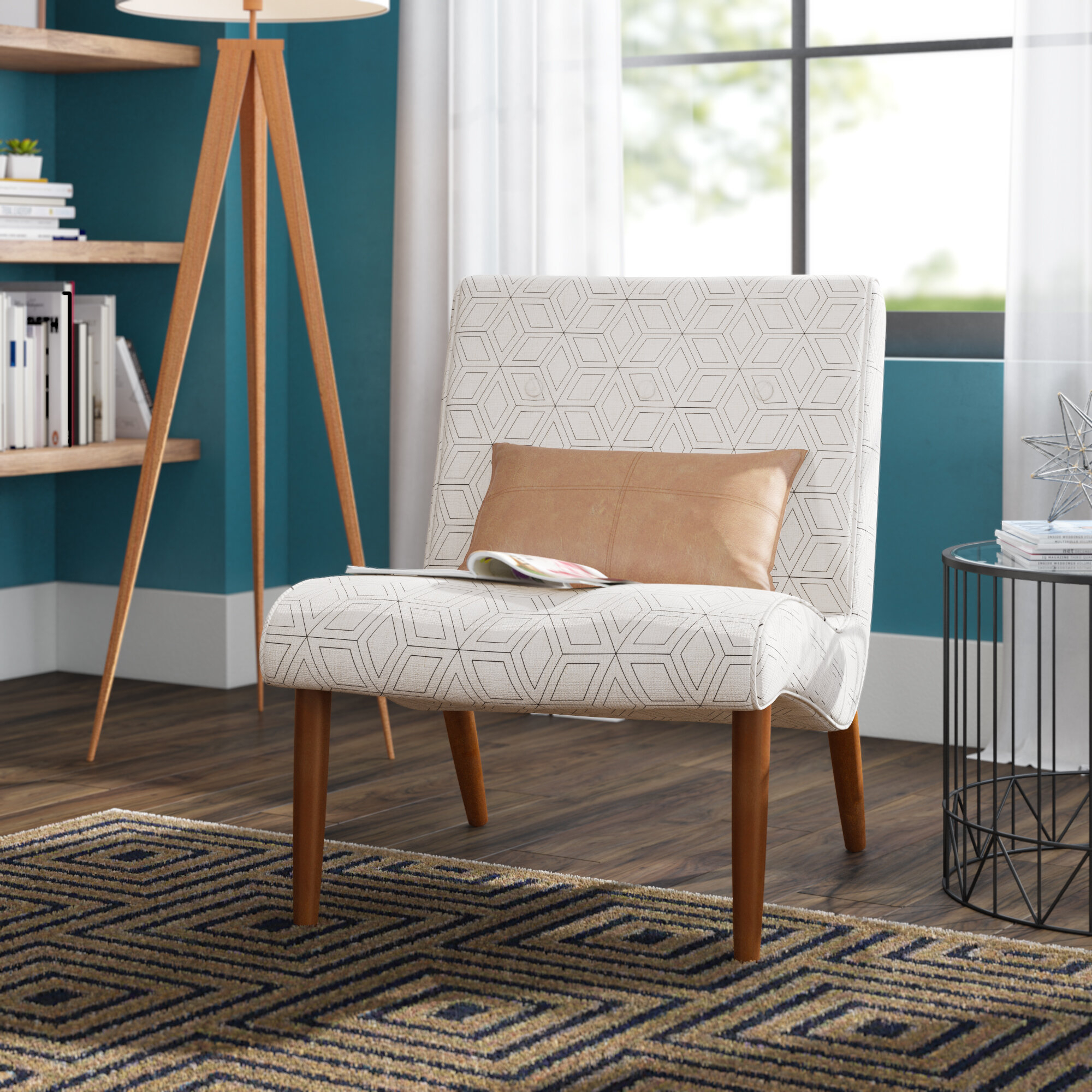 Langley Street Glascock Geo Slipper Chair & Reviews | Wayfair Within Goodyear Slipper Chairs (View 3 of 15)