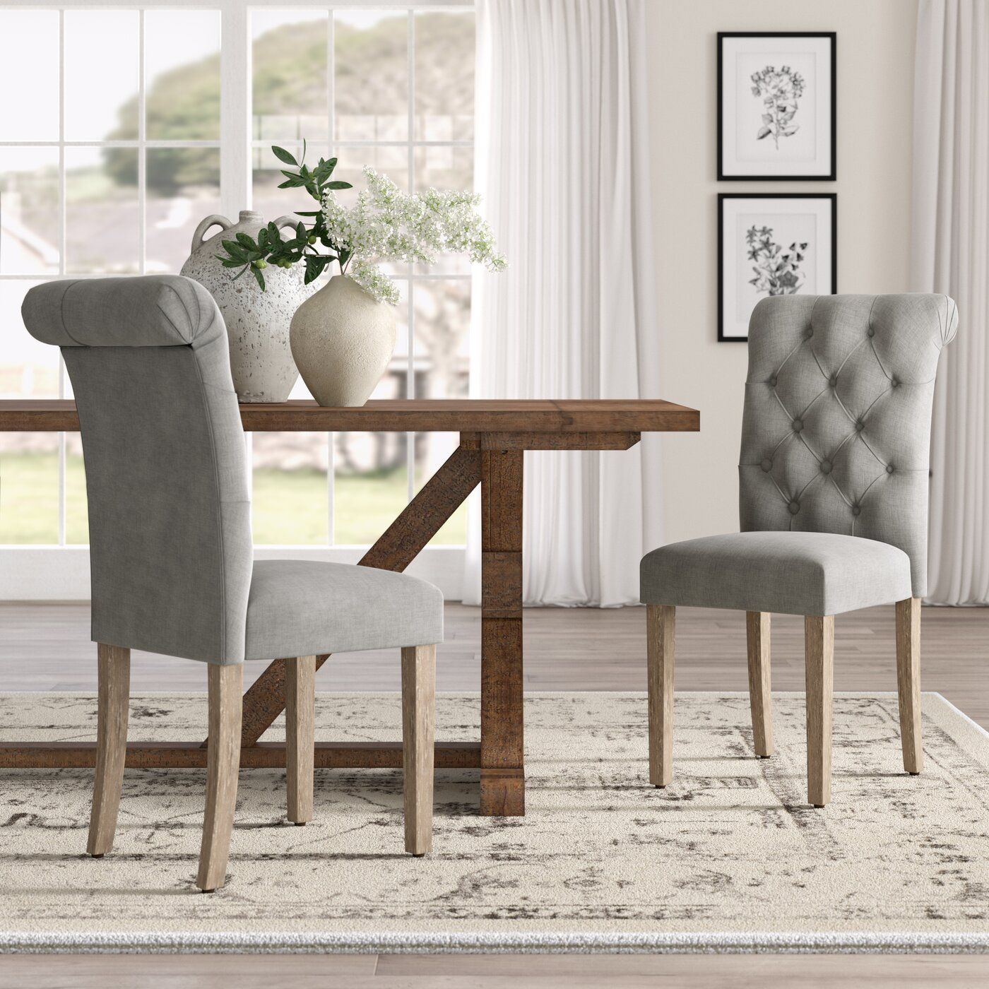 Lark Manor Bushey Roll Top Upholstered Dining Chair Regarding Bob Stripe Upholstered Dining Chairs (Set Of 2) (View 13 of 15)
