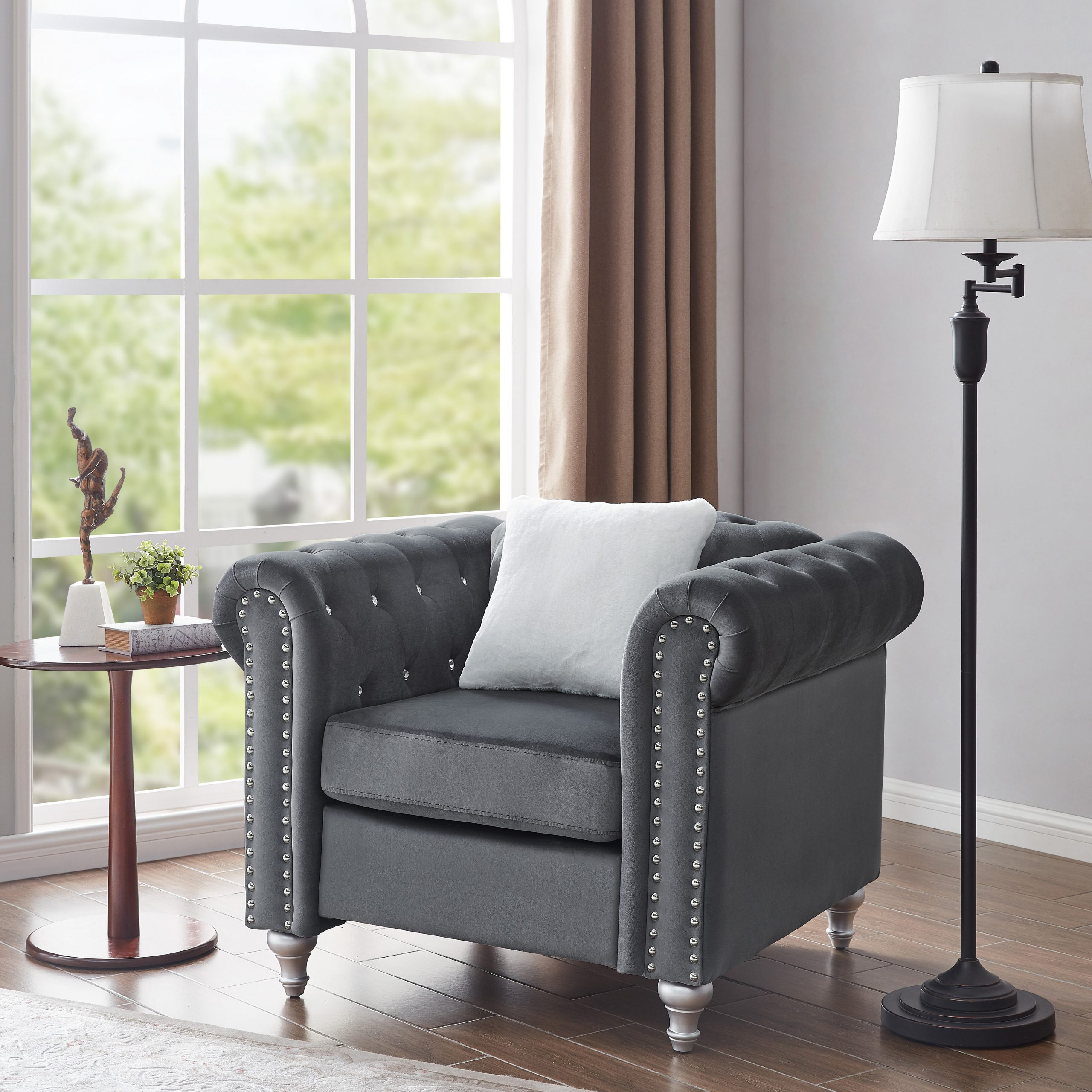 Lassiter Tufted Chesterfield Chair Throughout Starks Tufted Fabric Chesterfield Chair And Ottoman Sets (View 2 of 15)