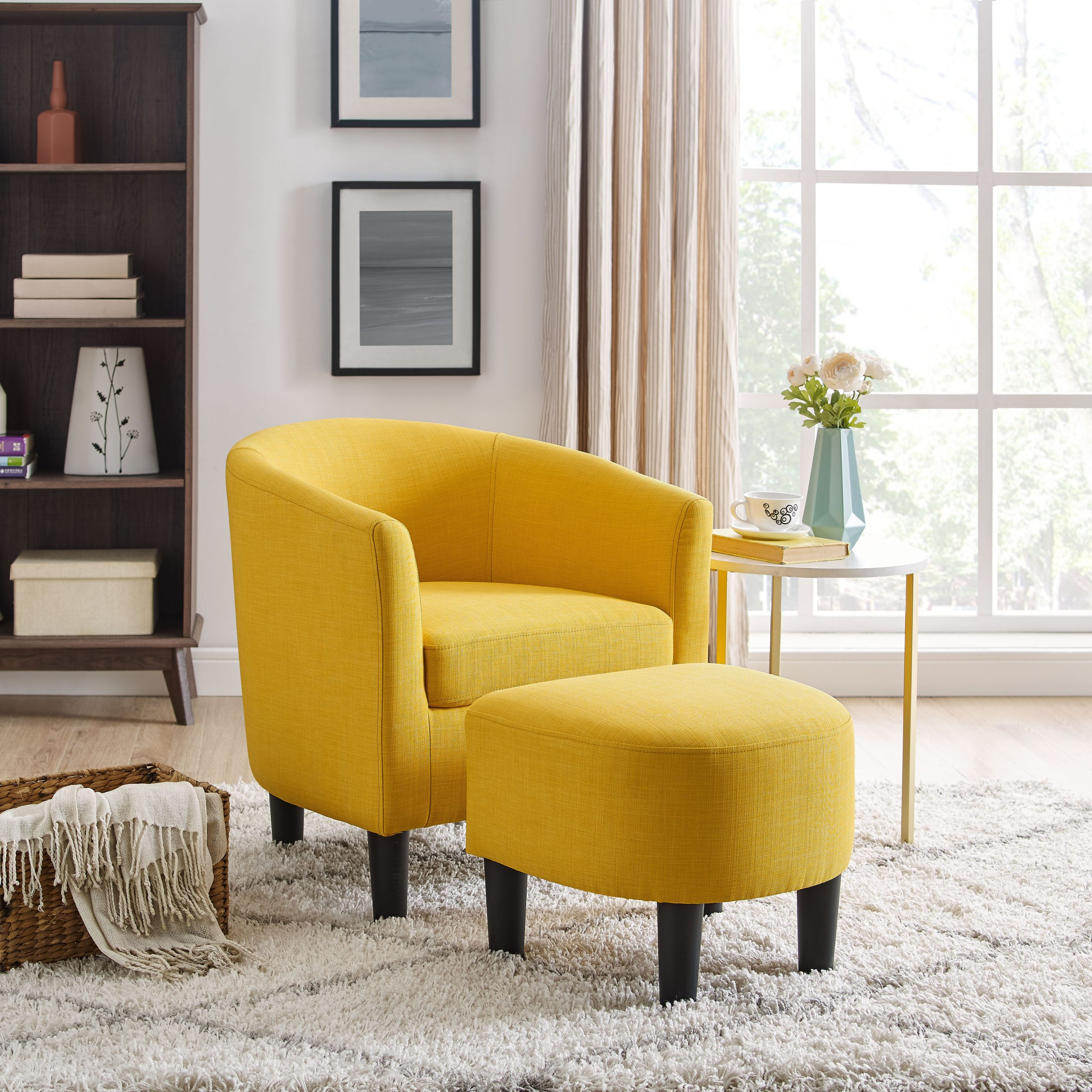 Featured Image of Chaithra Barrel Chair And Ottoman Sets