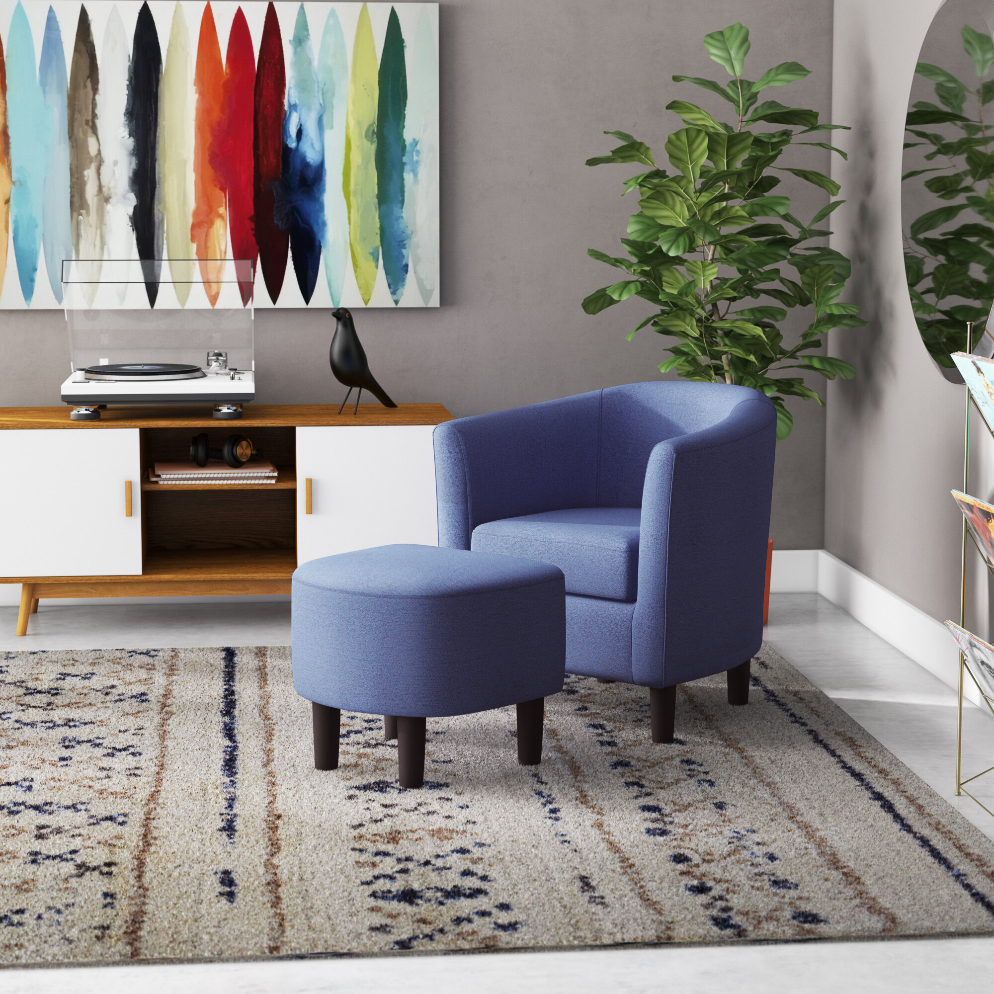 Latitude Run® Jazouli Linen Barrel Chair And Ottoman With Regard To Harmon Cloud Barrel Chairs And Ottoman (View 5 of 15)