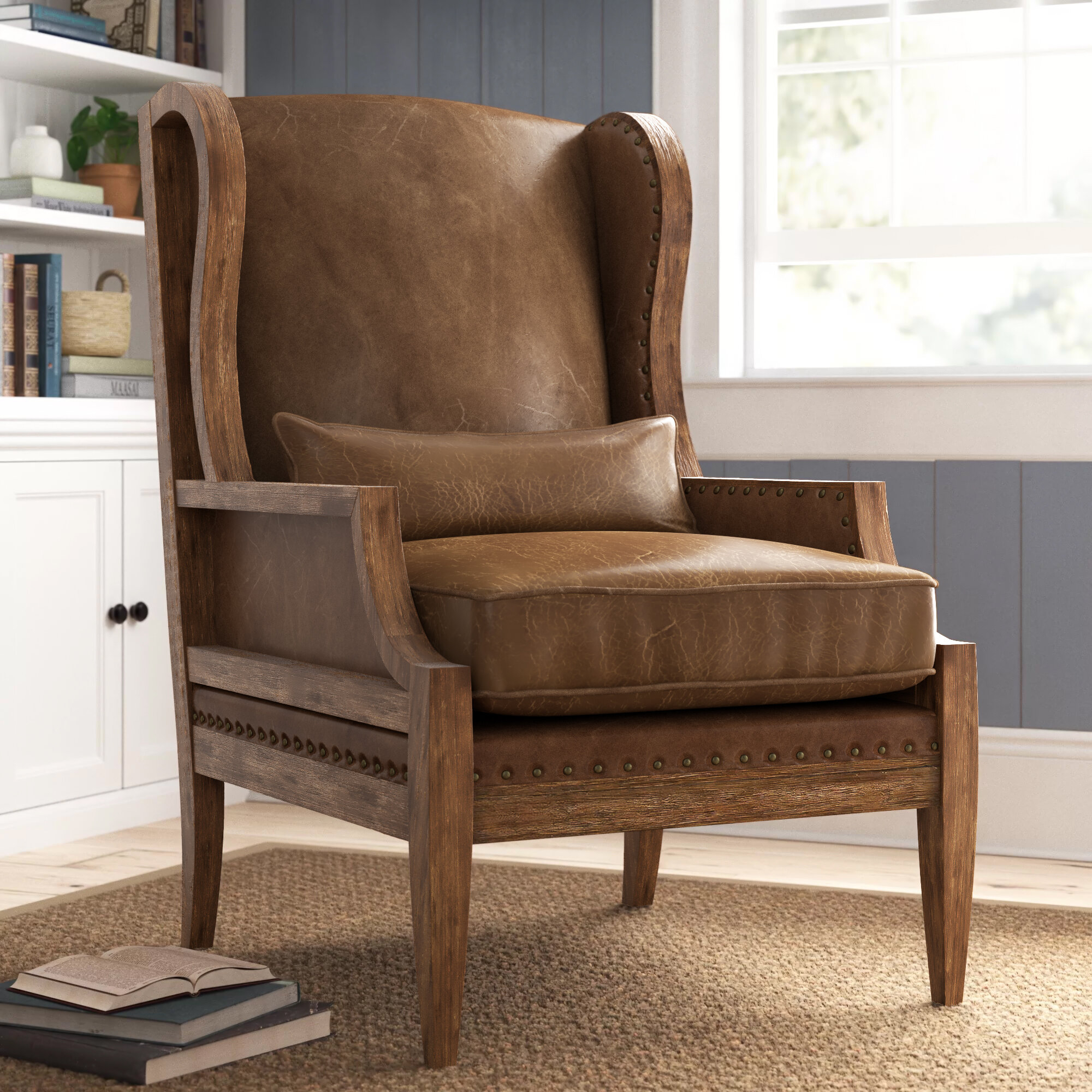 """Laurel 28"""" W Wingback Chair For Marisa Faux Leather Wingback Chairs (View 11 of 15)"""