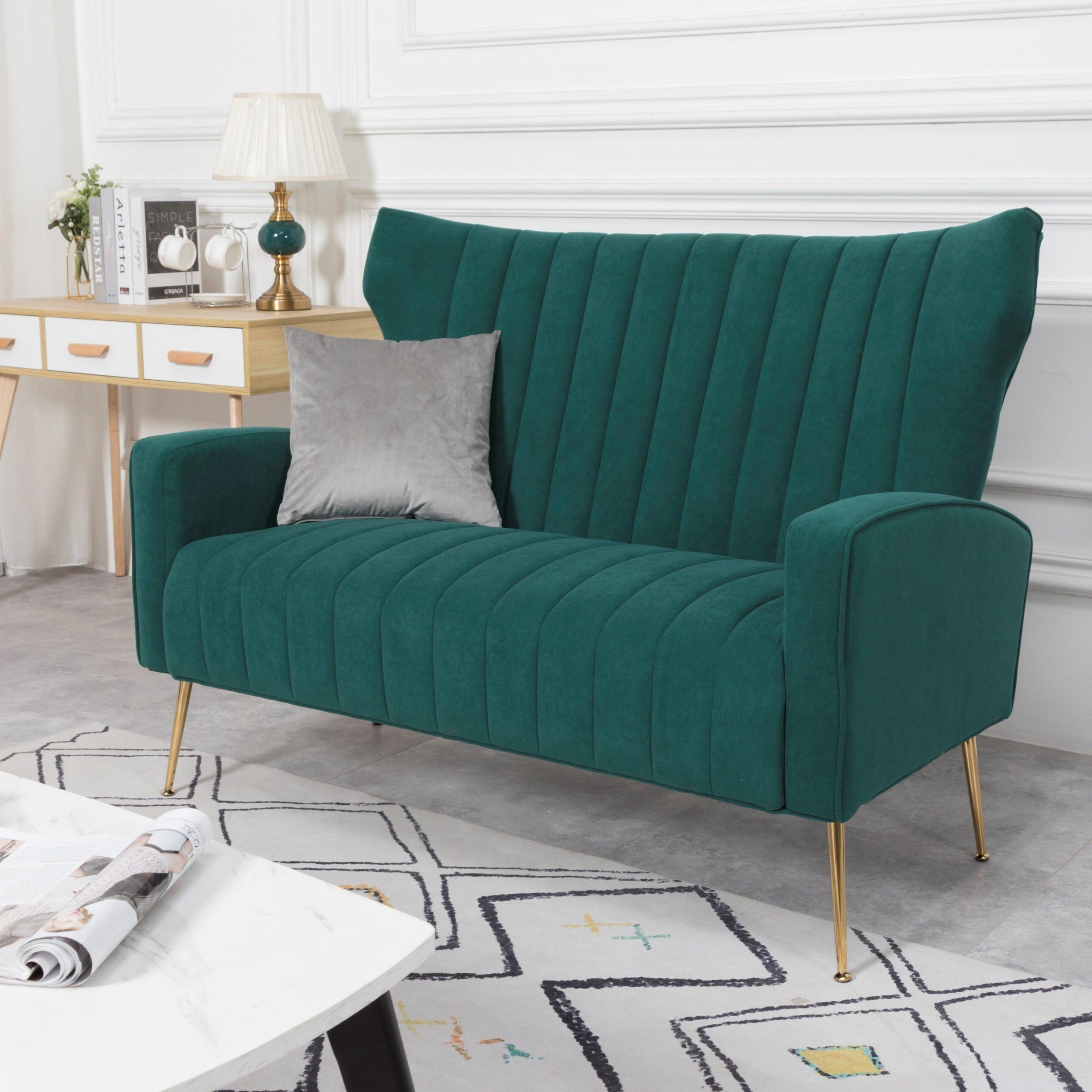 Lauretta Velvet 52'' Flared Arm Loveseat For Lauretta Velvet Wingback Chairs (View 11 of 15)