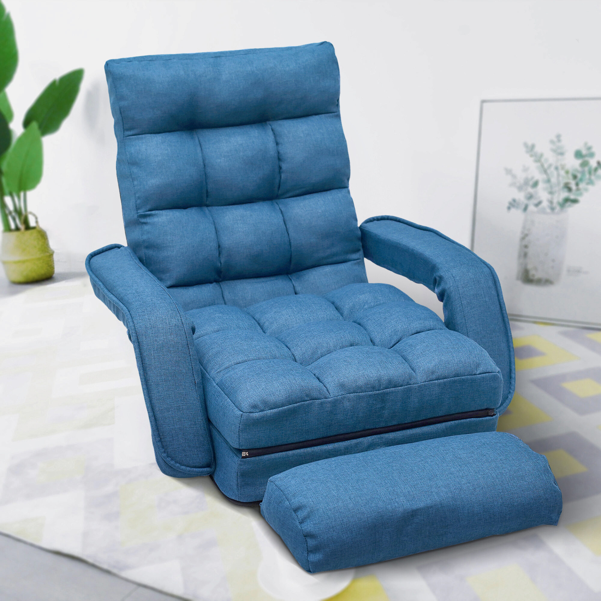 Lazy Floor Convertible Chair For Onderdonk Faux Leather Convertible Chairs (View 12 of 15)