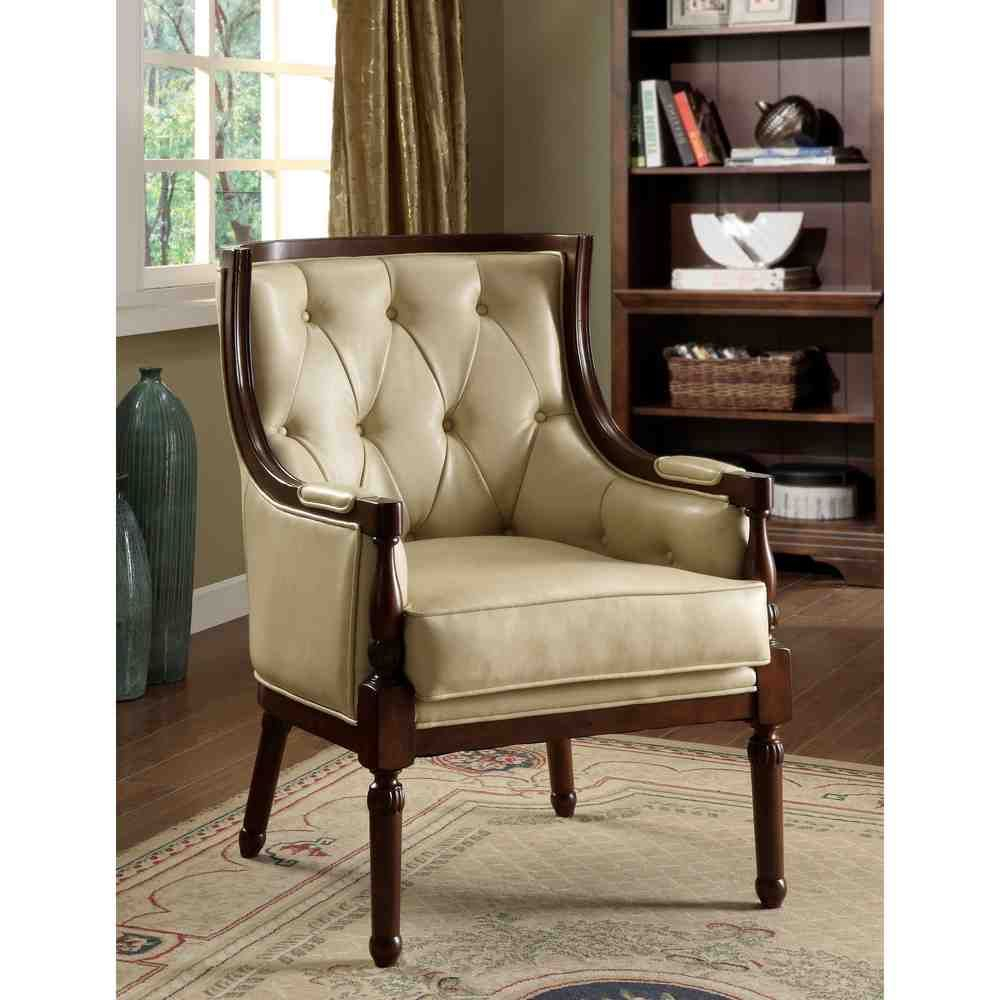 Leather Accent Chairs | Chair Design Wooden, Leather Accent With Starks Tufted Fabric Chesterfield Chair And Ottoman Sets (View 10 of 15)
