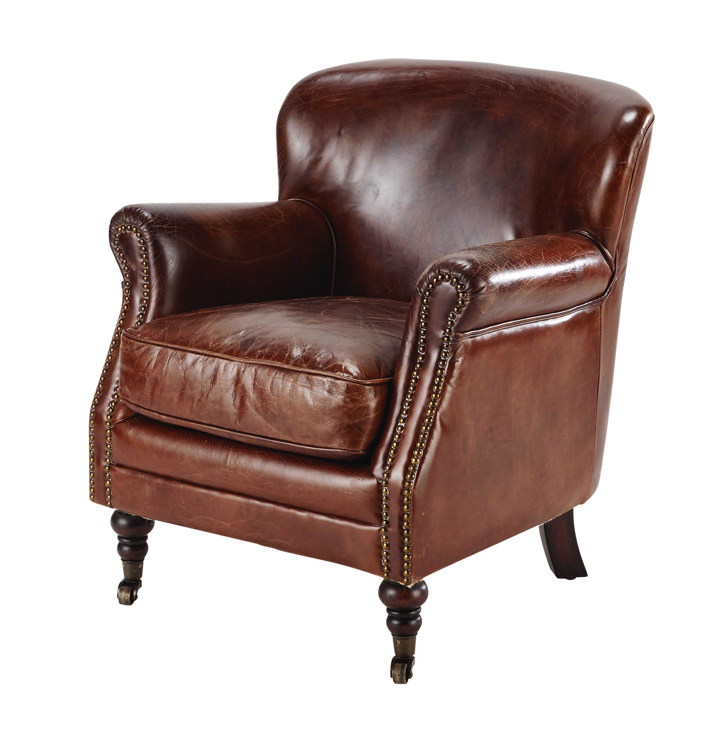 Leather Armchair On Castors In Brown Orson Within Helder Armchairs (View 4 of 15)