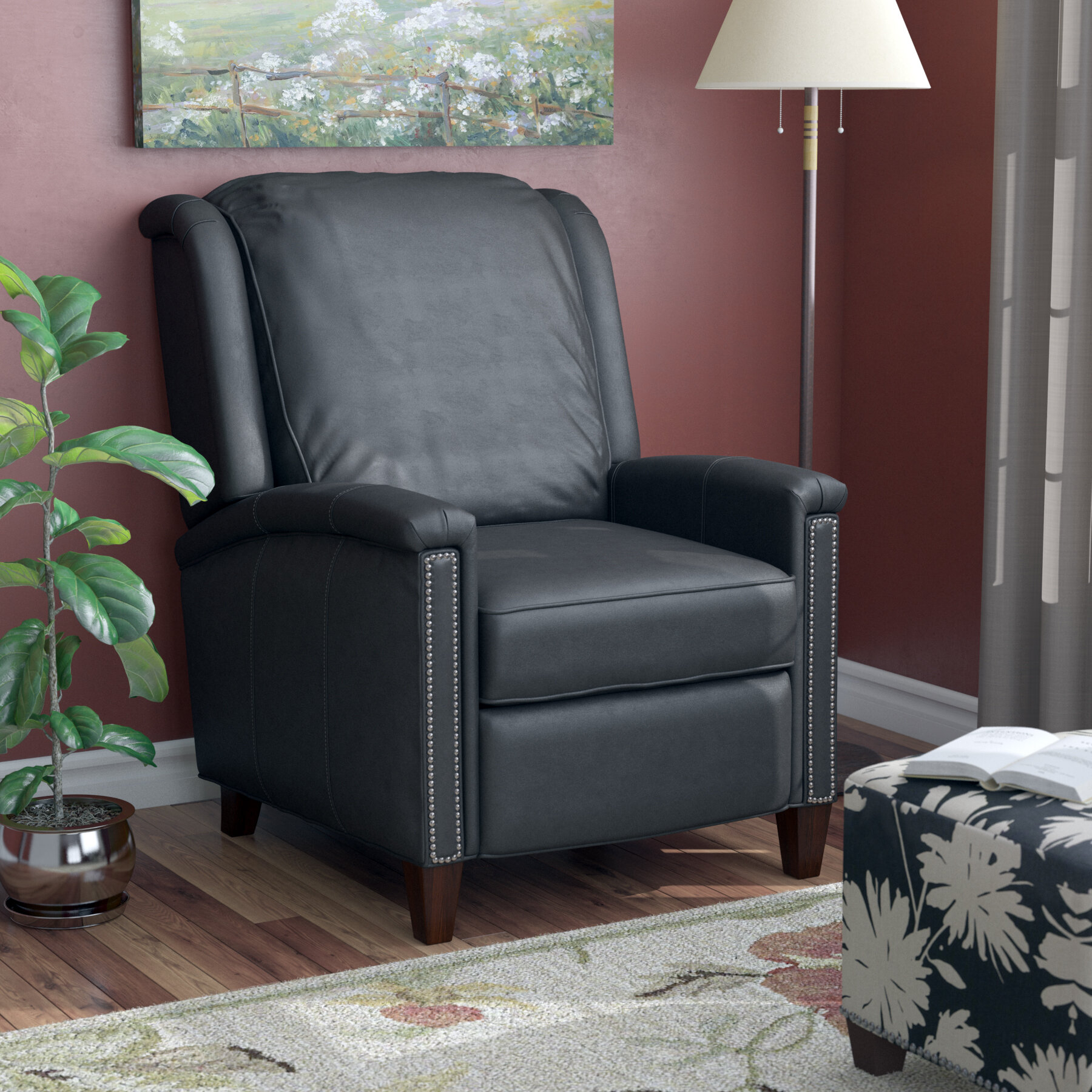 Leather Manual Recliner With Regard To Coomer Faux Leather Barrel Chairs (View 11 of 15)