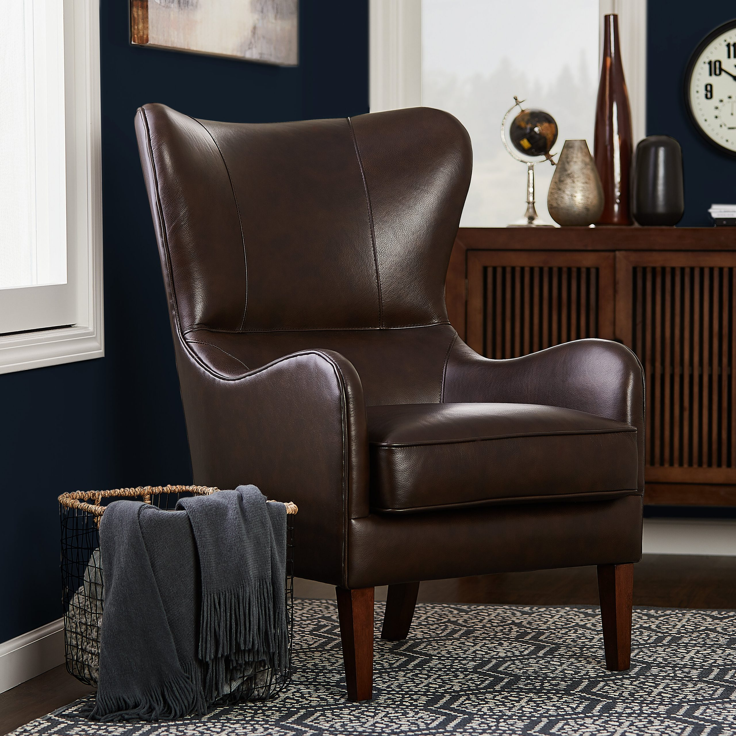 Leather Wingback Accent Chairs You'Ll Love In 2021 | Wayfair For Gallin Wingback Chairs (View 8 of 15)