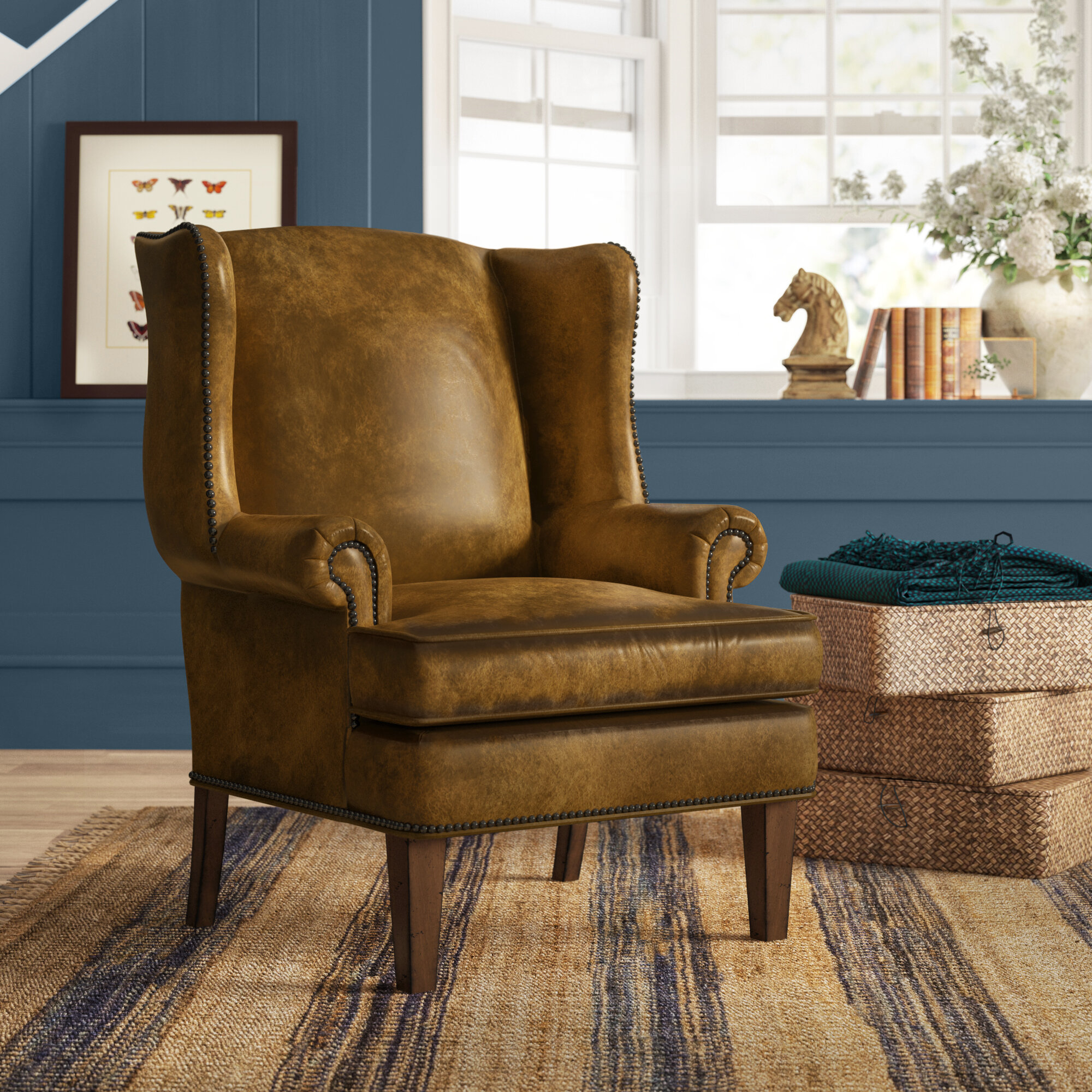 Leather Wingback Accent Chairs You'Ll Love In 2021 | Wayfair Regarding Gallin Wingback Chairs (View 6 of 15)