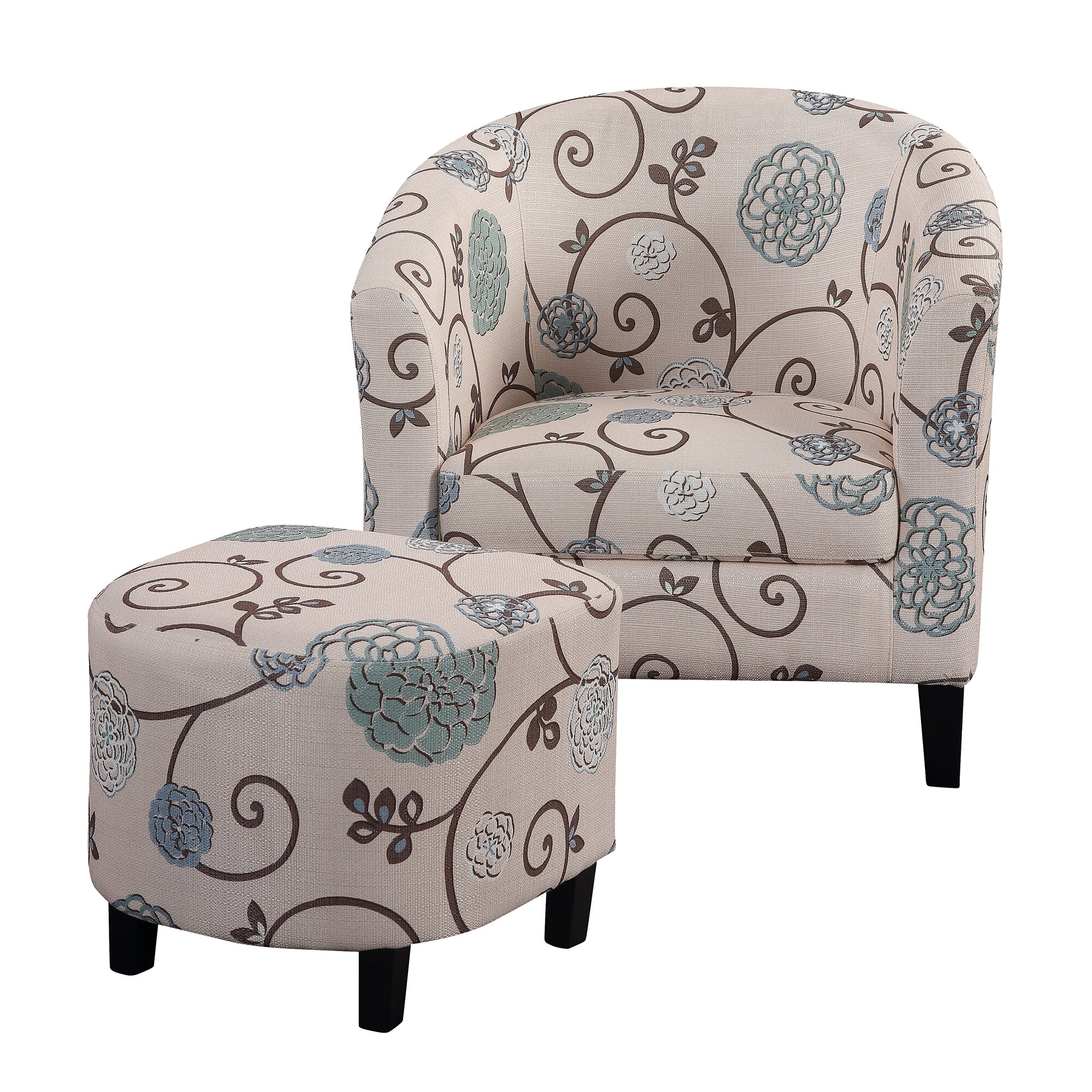 Lei Barrel Chair And Ottoman With Regard To Jazouli Linen Barrel Chairs And Ottoman (View 14 of 15)