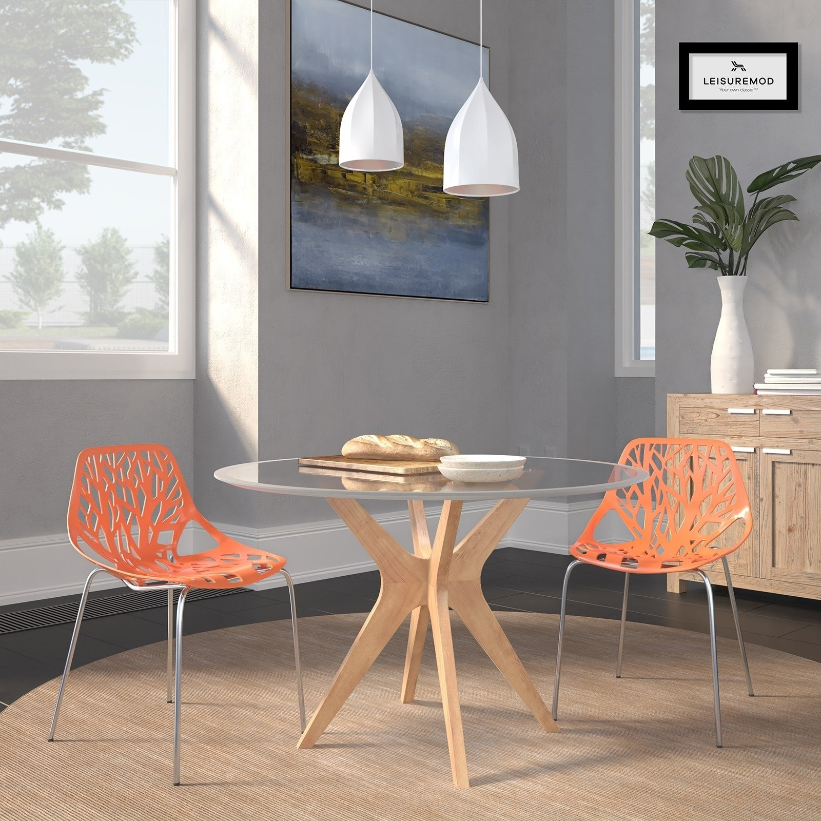 Leisuremod Asbury Orange Open Back Chrome Dining Side Chair Set Of 2 Regarding Asbury Club Chairs (View 14 of 15)