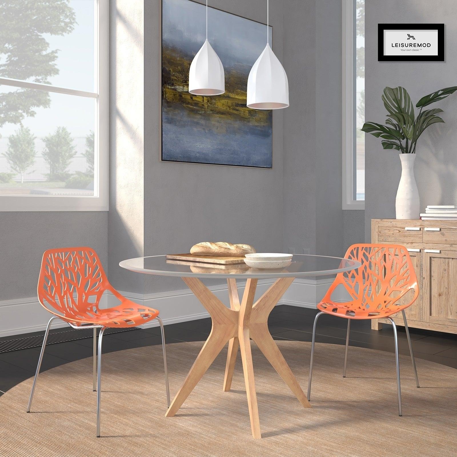 Leisuremod Asbury Orange Open Back Chrome Dining Side Chair Set Of 2 Regarding Asbury Club Chairs (View 14 of 15)