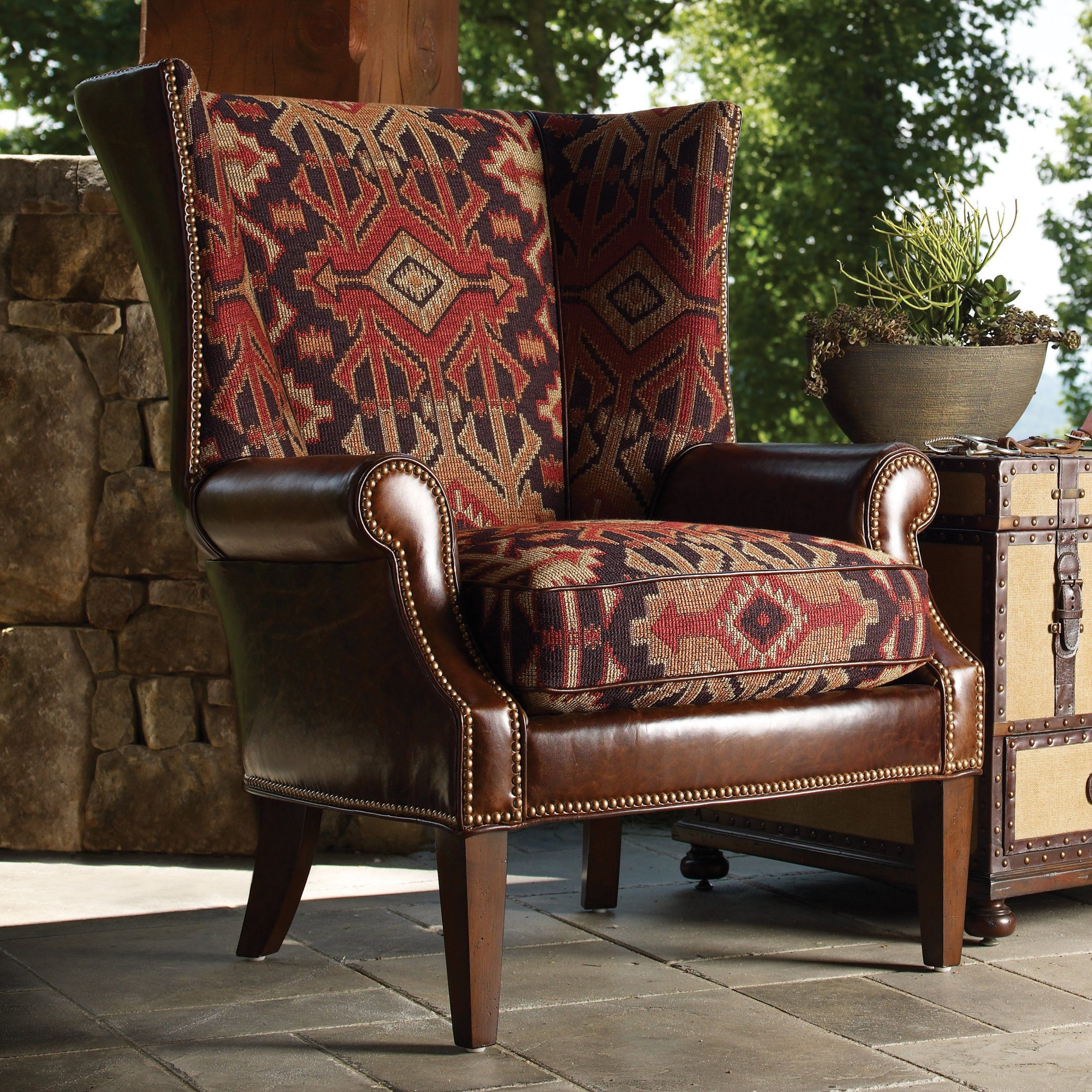 Lexington Home Brands Fieldale Lodge Marissa Leather And In Marisa Faux Leather Wingback Chairs (View 2 of 15)