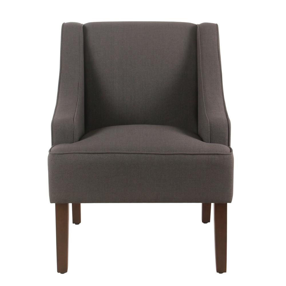 Linen Look Charcoal Gray Classic Swoop Arm Accent Chair, Dark Charcoal Gray  – Home Depot Within Biggerstaff Polyester Blend Armchairs (View 15 of 15)