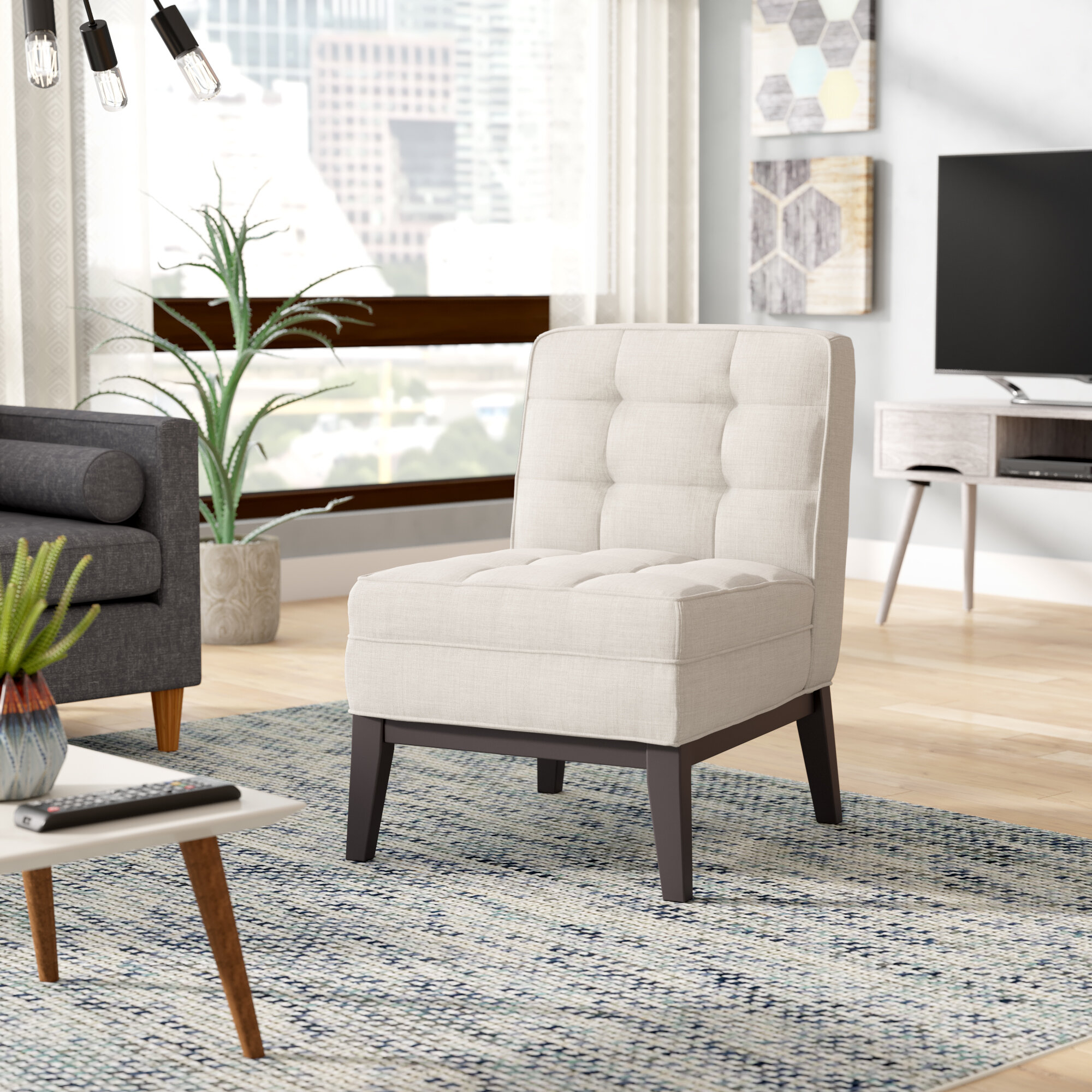 Linen Slipper Accent Chairs You'Ll Love In 2021 | Wayfair Pertaining To Alush Accent Slipper Chairs (Set Of 2) (View 14 of 15)