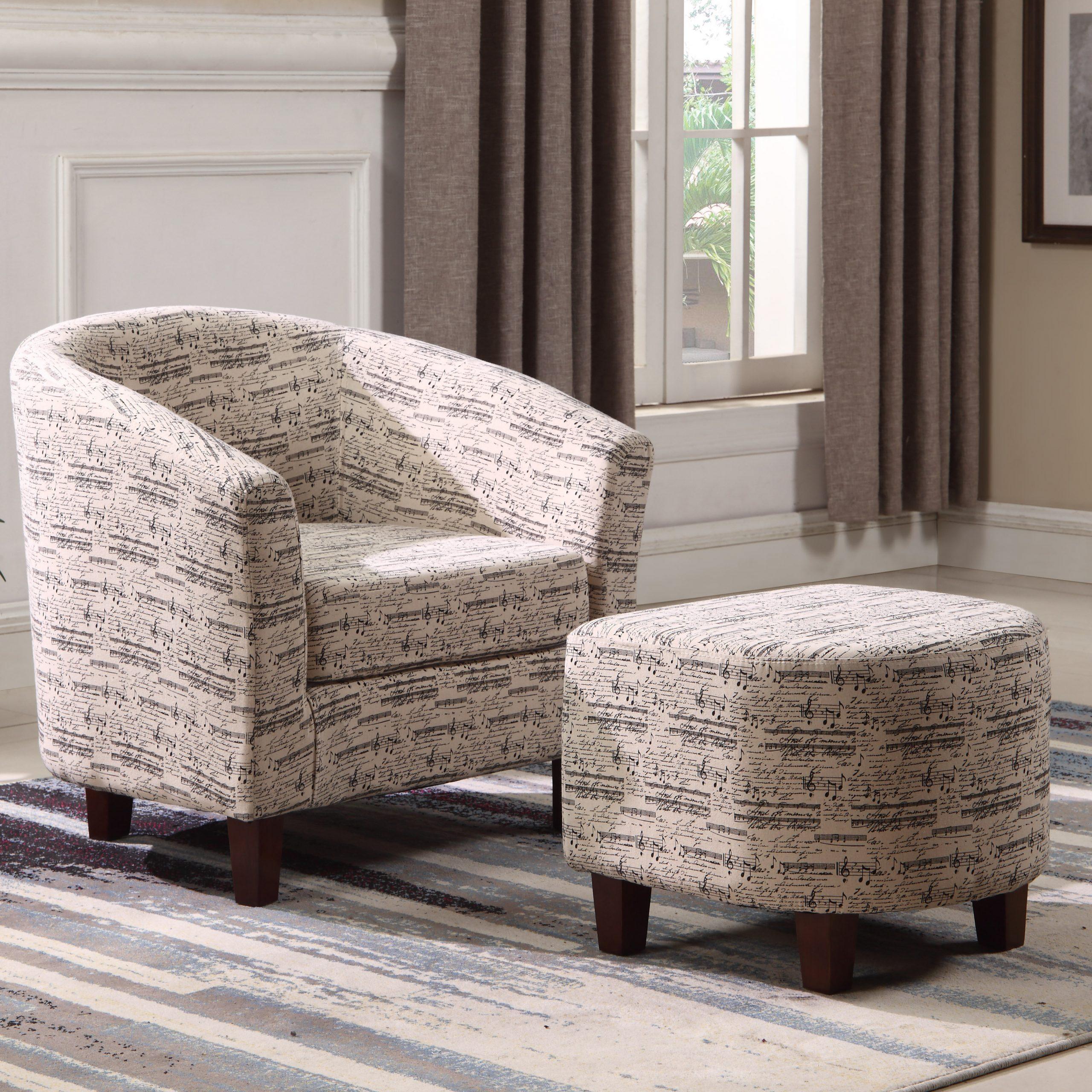 Lochlan Barrel Chair And Ottoman Regarding Lucea Faux Leather Barrel Chairs And Ottoman (View 13 of 15)