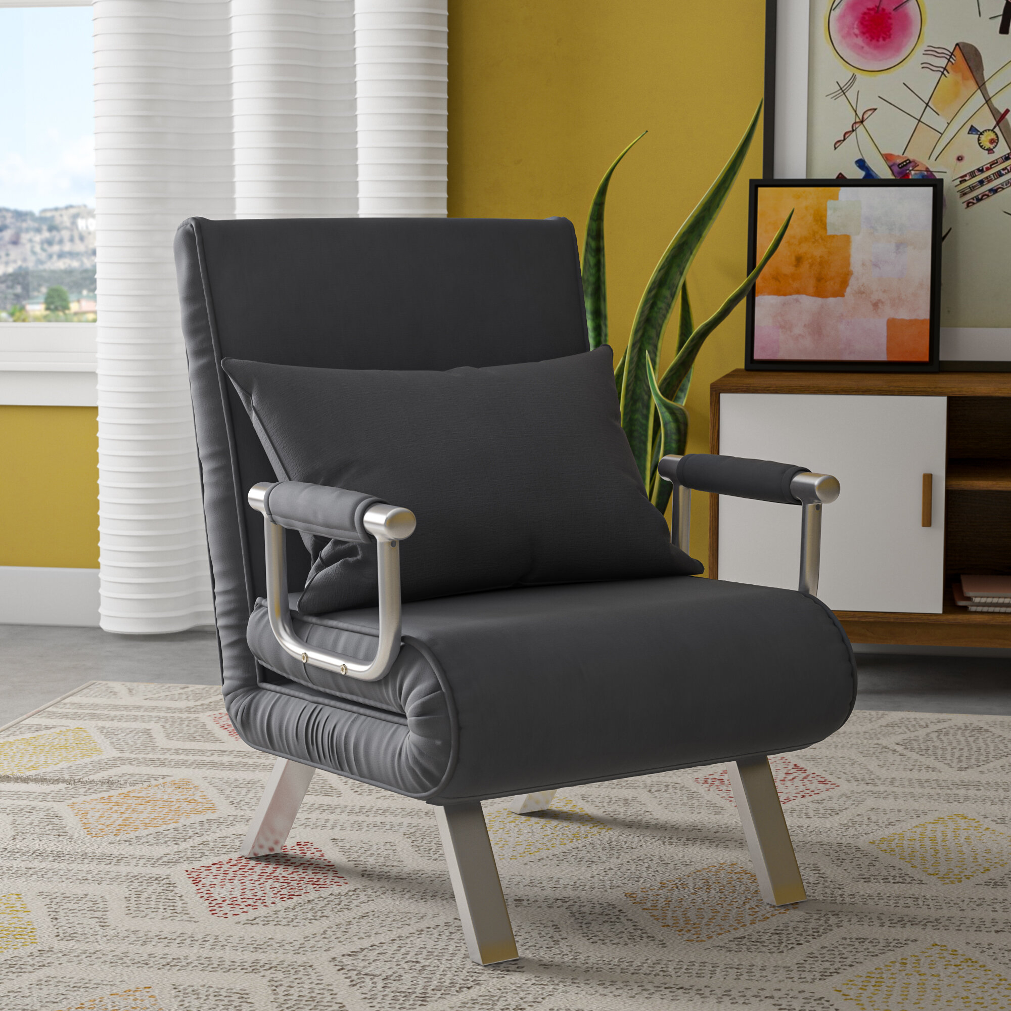 Longoria Convertible Chair Within Perz Tufted Faux Leather Convertible Chairs (View 15 of 15)