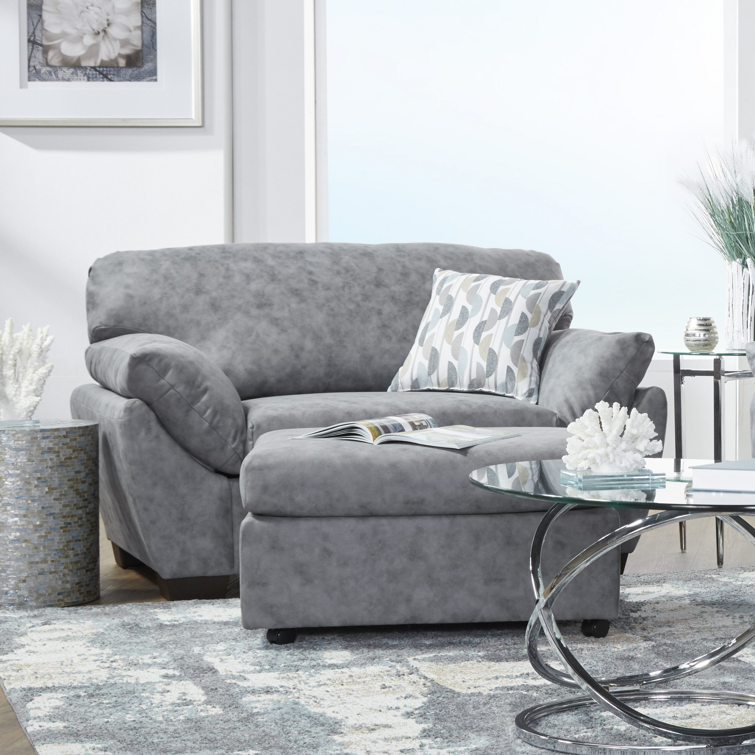 Lore Modern Fabric Pillow Arm Chair With Ottoman In Dolphin Bay Gray – Walmart Pertaining To Modern Armchairs And Ottoman (View 14 of 15)