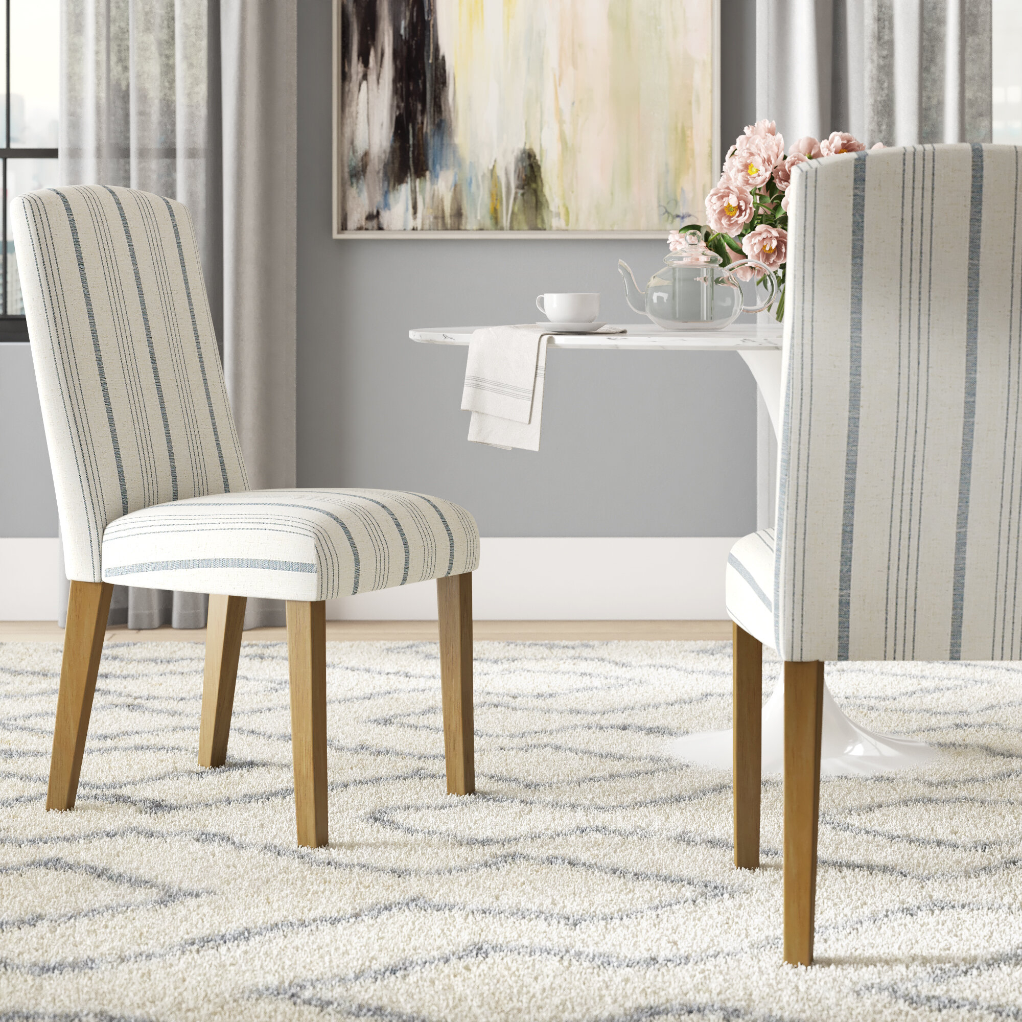 Louis Upholstered Dining Chair In Bob Stripe Upholstered Dining Chairs (Set Of 2) (View 15 of 15)