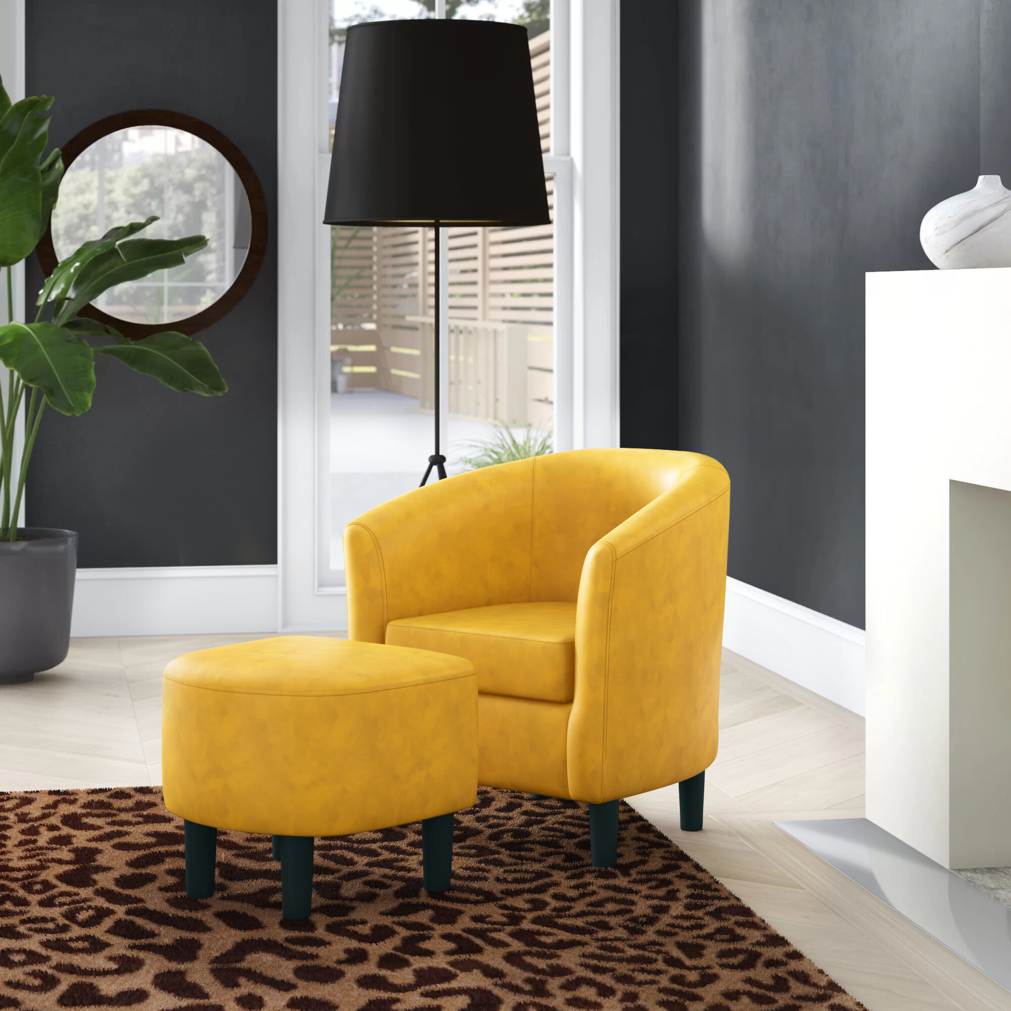 Featured Image of Lucea Faux Leather Barrel Chairs And Ottoman