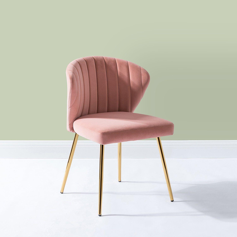 Luna Velvet Side Chair For Bedroom Or Living Room In Pink For Daulton Velvet Side Chairs (View 4 of 15)