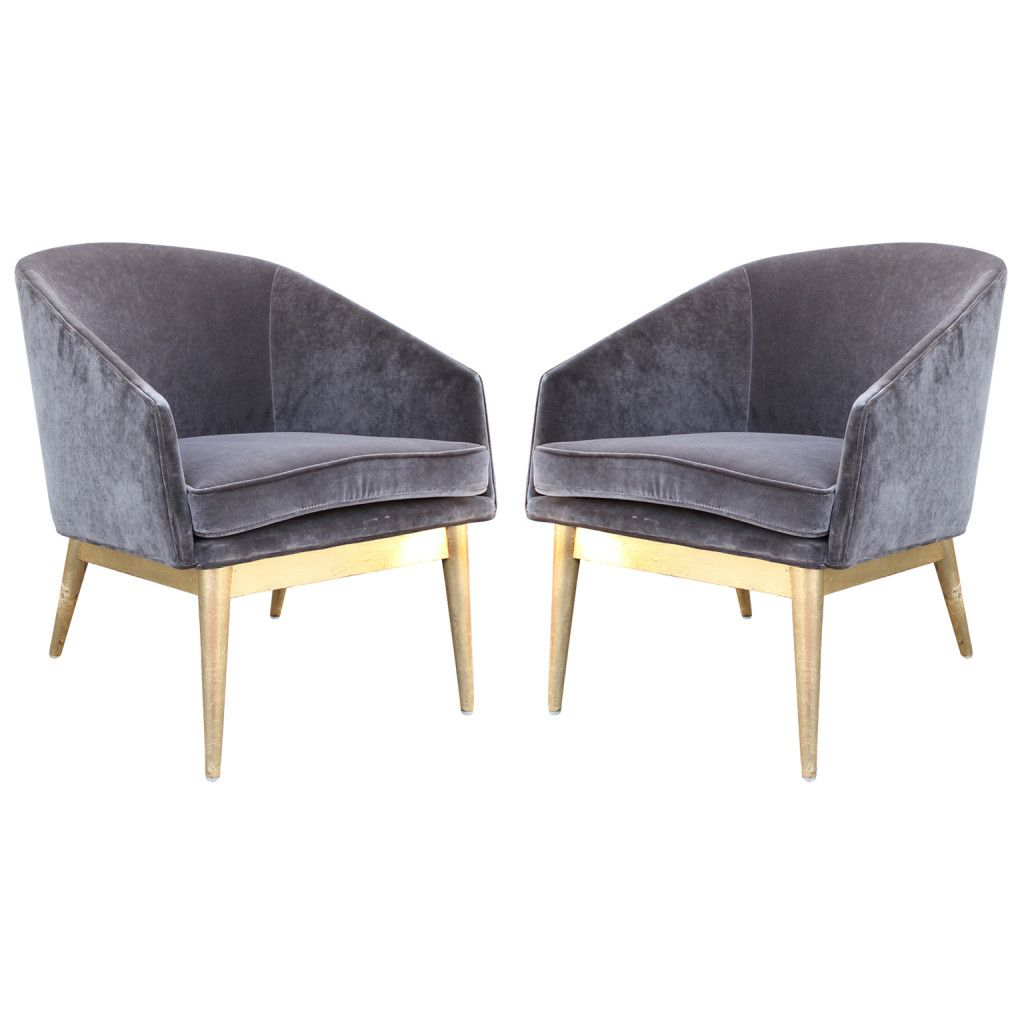 Luxe Pair Of Gold Leaf And Grey Velvet Barrel Back Lounge For Lucea Faux Leather Barrel Chairs And Ottoman (View 8 of 15)