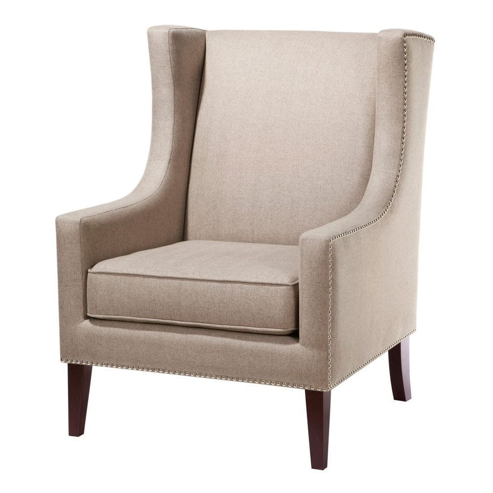 Madison Park Barton Accent Chair, Med Beige | Wingback Chair Within Briseno Barrel Chairs (View 12 of 15)
