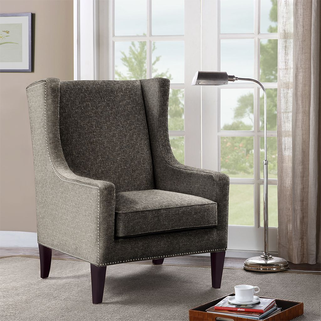 Madison Park Barton Wing Chair | Fabric Accent Chair, Buy Intended For Chagnon Wingback Chairs (View 7 of 15)