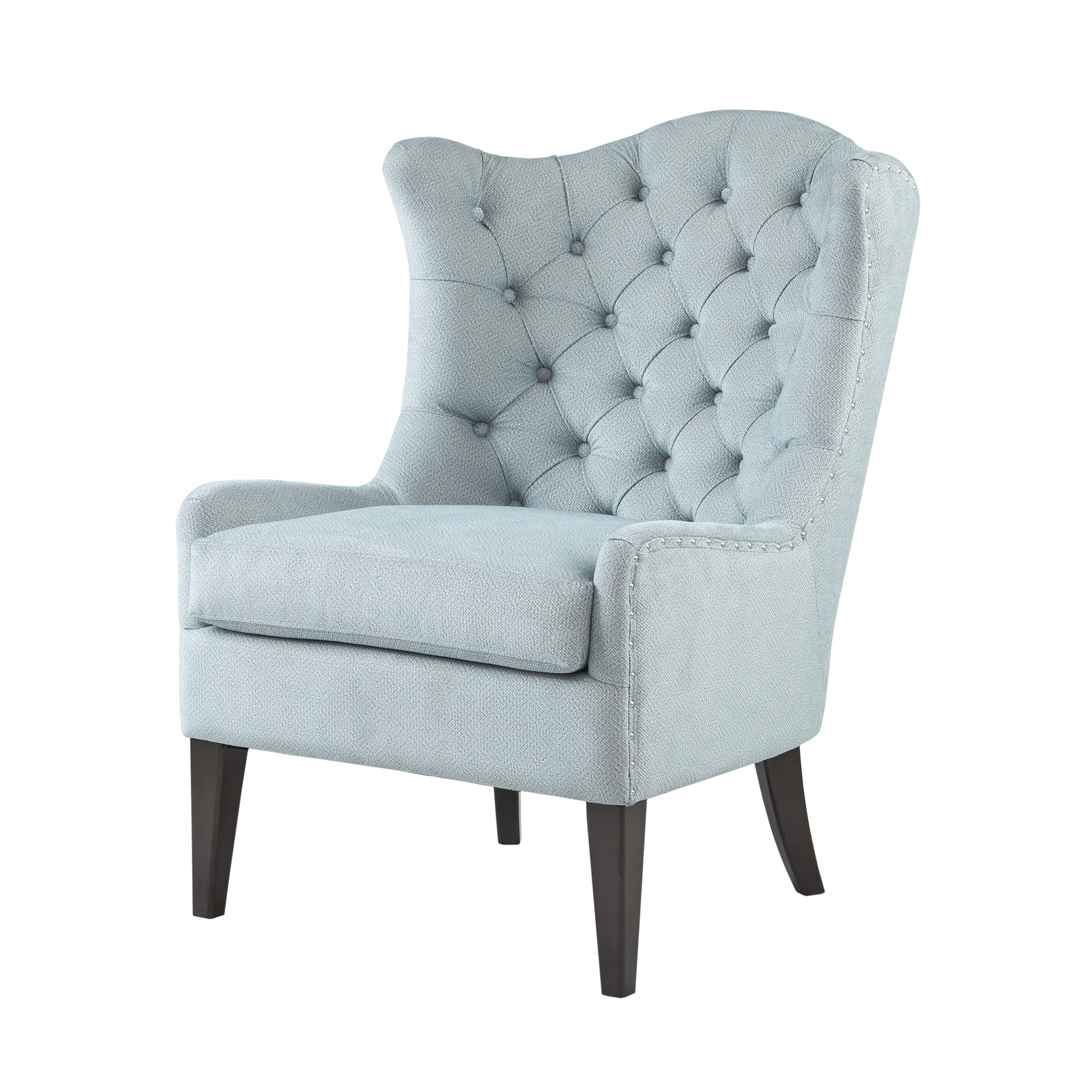 Madison Park Loretta Light Blue Tufted Accent Chair Intended For Lauretta Velvet Wingback Chairs (View 8 of 15)