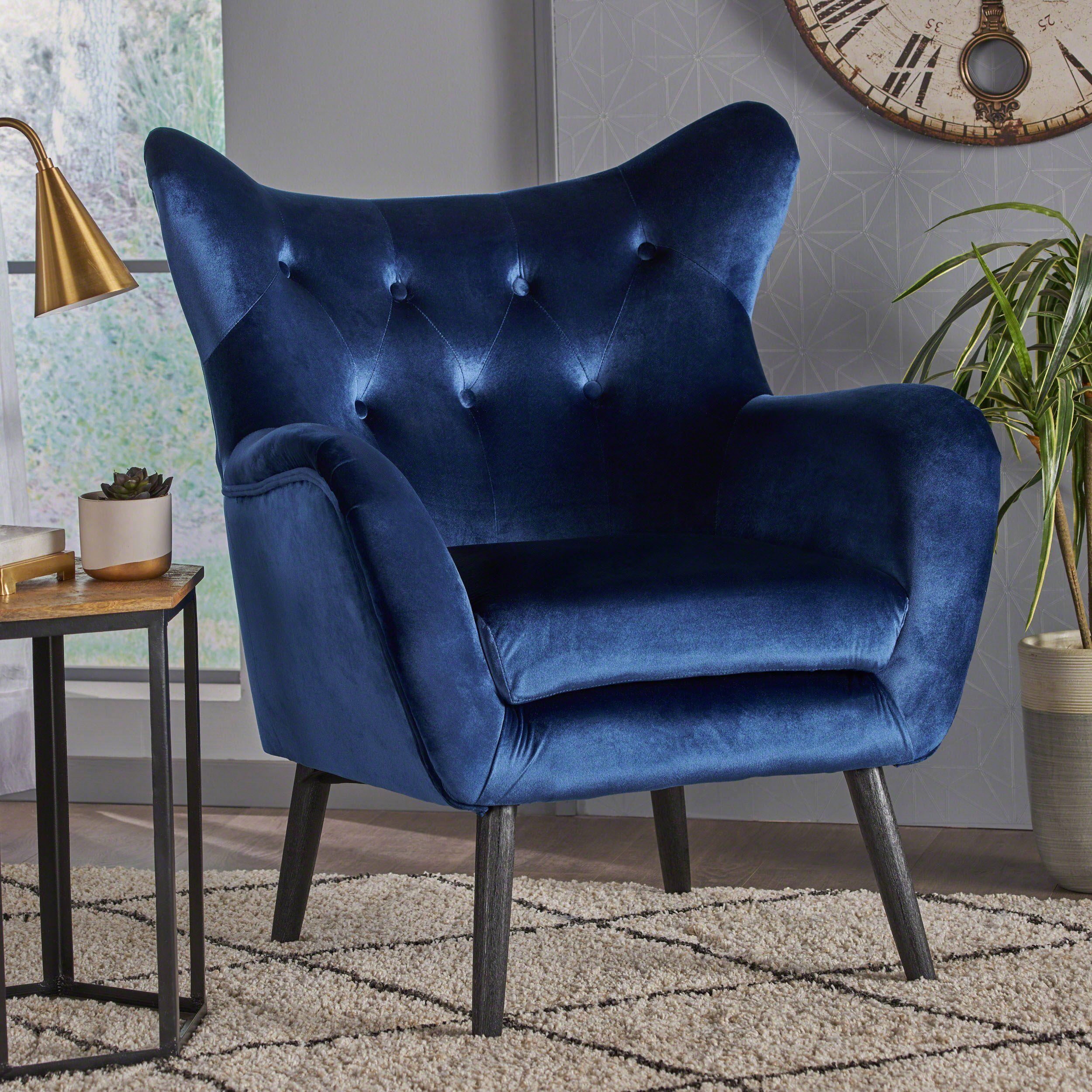 Mae Velvet Tufted Wingback Armchair In 2020 | Velvet With Lauretta Velvet Wingback Chairs (View 6 of 15)