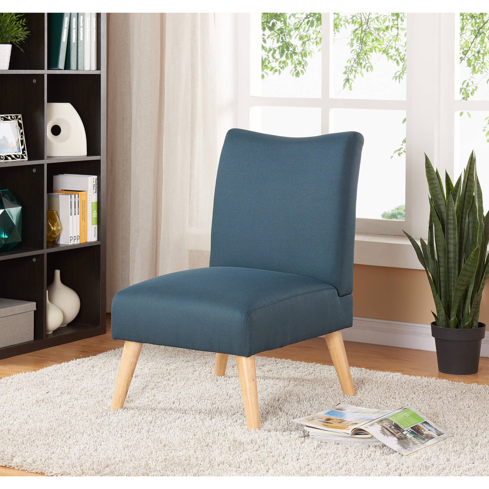 Mainstays Solid Armless Slipper Chair, Multiple Colors In Armless Upholstered Slipper Chairs (View 7 of 15)