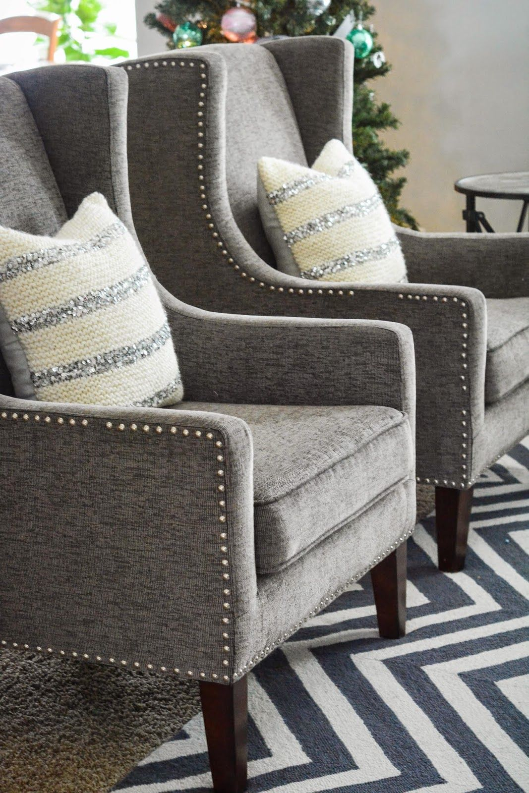 Mandy & Such: Holiday Cheer Around Our Home | Home, Home With Regard To Allis Tufted Polyester Blend Wingback Chairs (View 15 of 15)